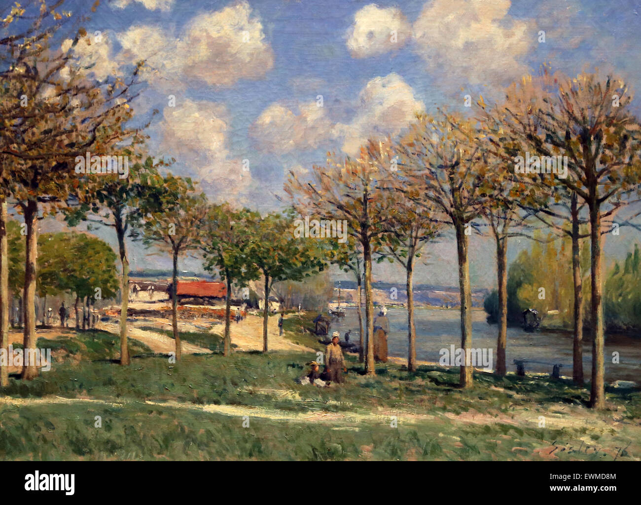Alfred Sisley (1839-1899). French painter. The Seine at Bougival, 1876. Oil on canvas. Metropolitan Museum of Art. - Stock Image
