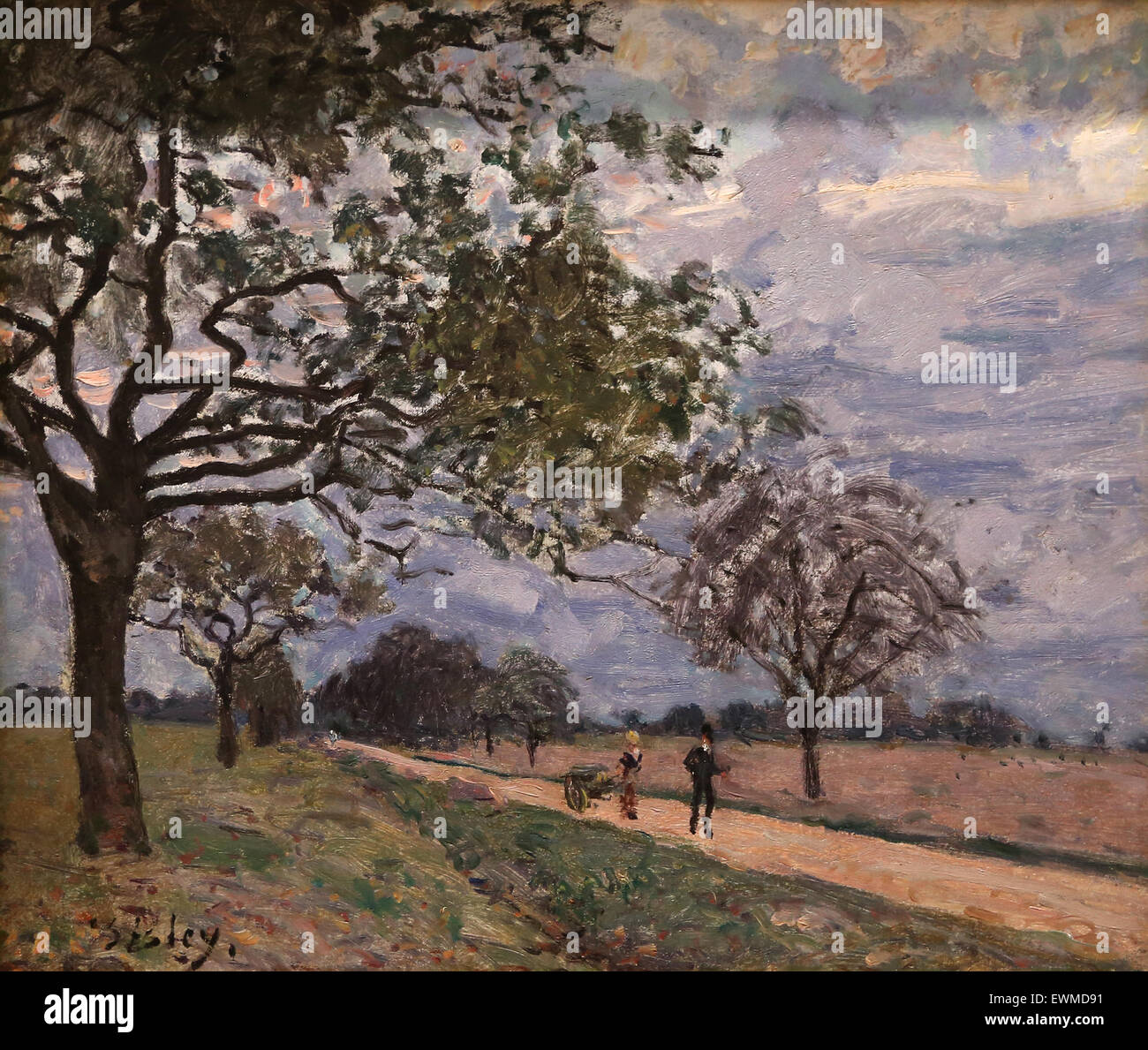 Alfred Sisley (1839-1899). French painter. The Road from Versailles to Louveciennes. Probaby, 1879. Oil on canvas. - Stock Image