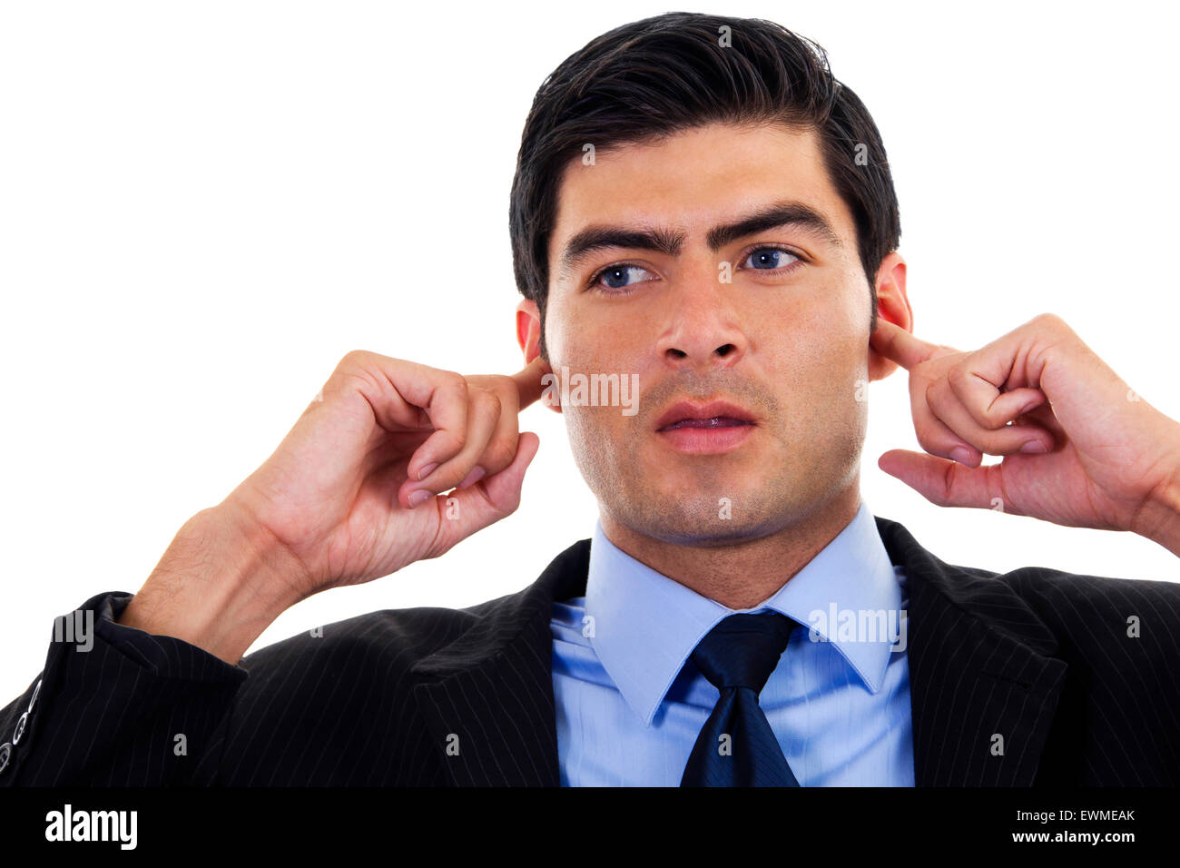 Stock image of businessman covering his ears with his hands, over white background - Stock Image