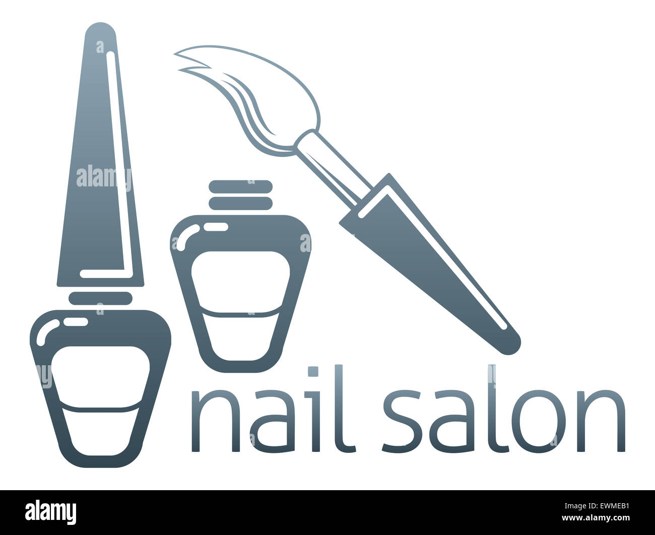 An illustration of bottles of nail varnish and brush, nail salon concept - Stock Image