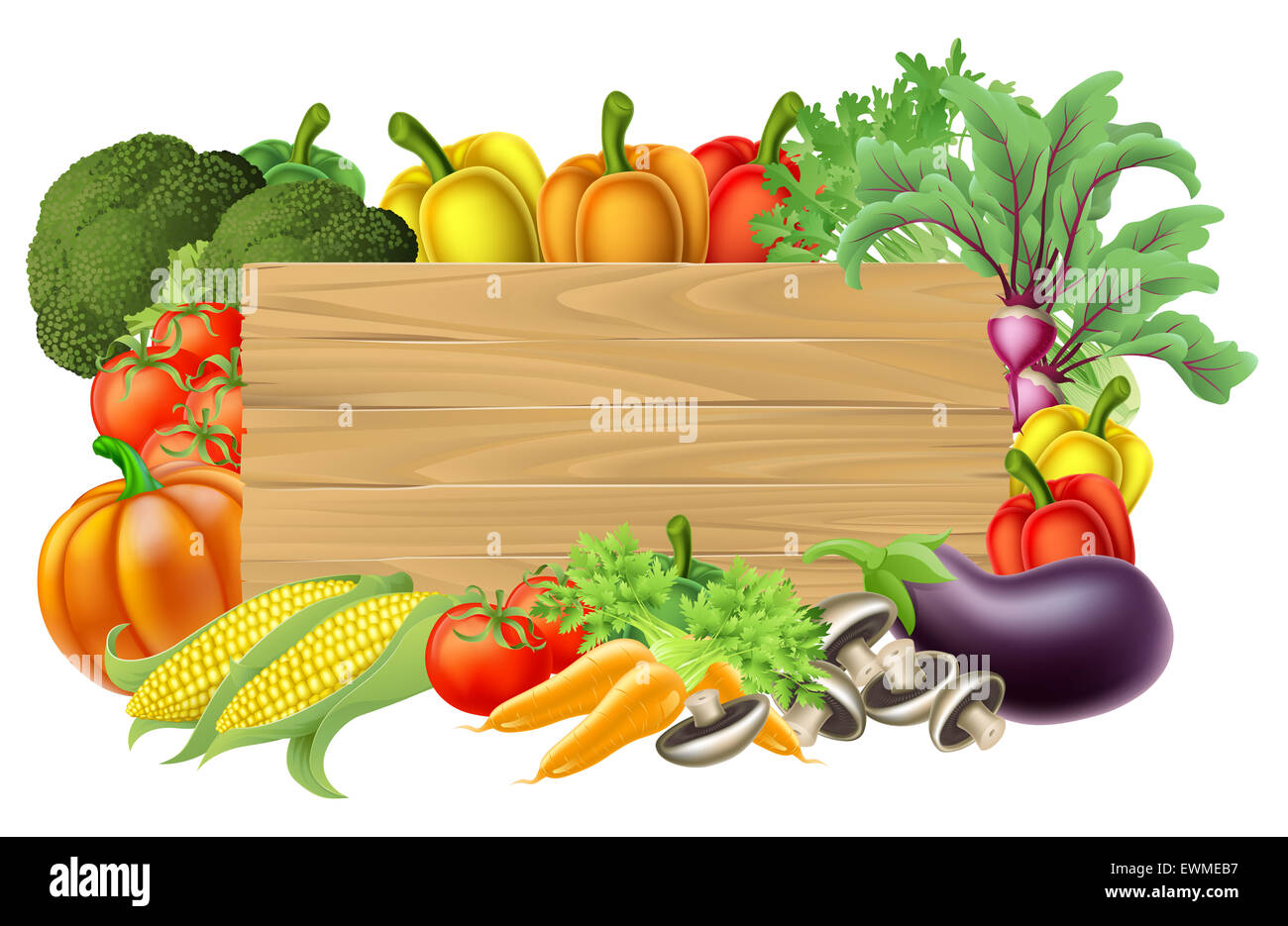 A wooden vegetables sign background surrounded by a border ...