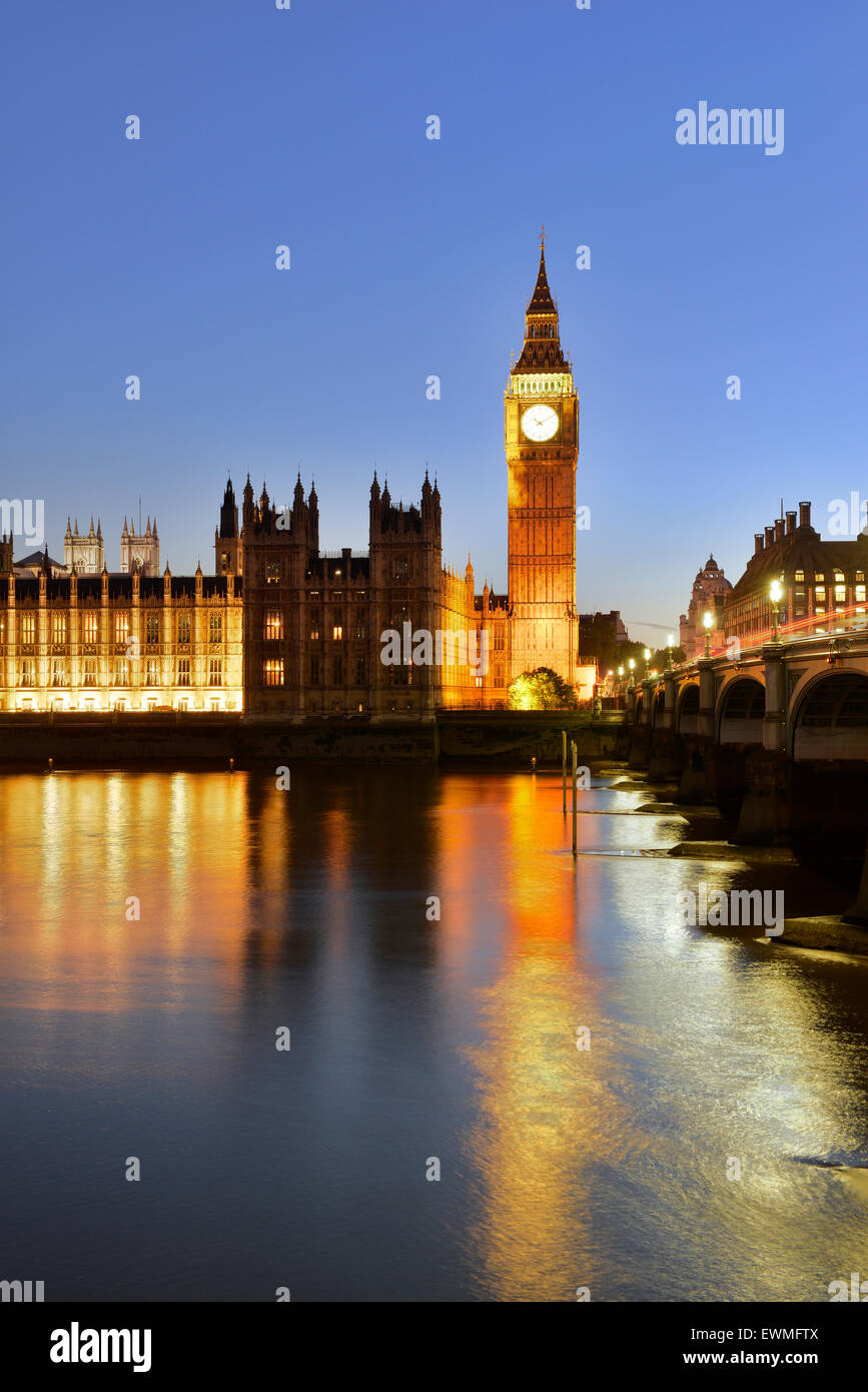 Big Ben and Houses of Parliament, Thames, London, England, United Kingdom - Stock Image