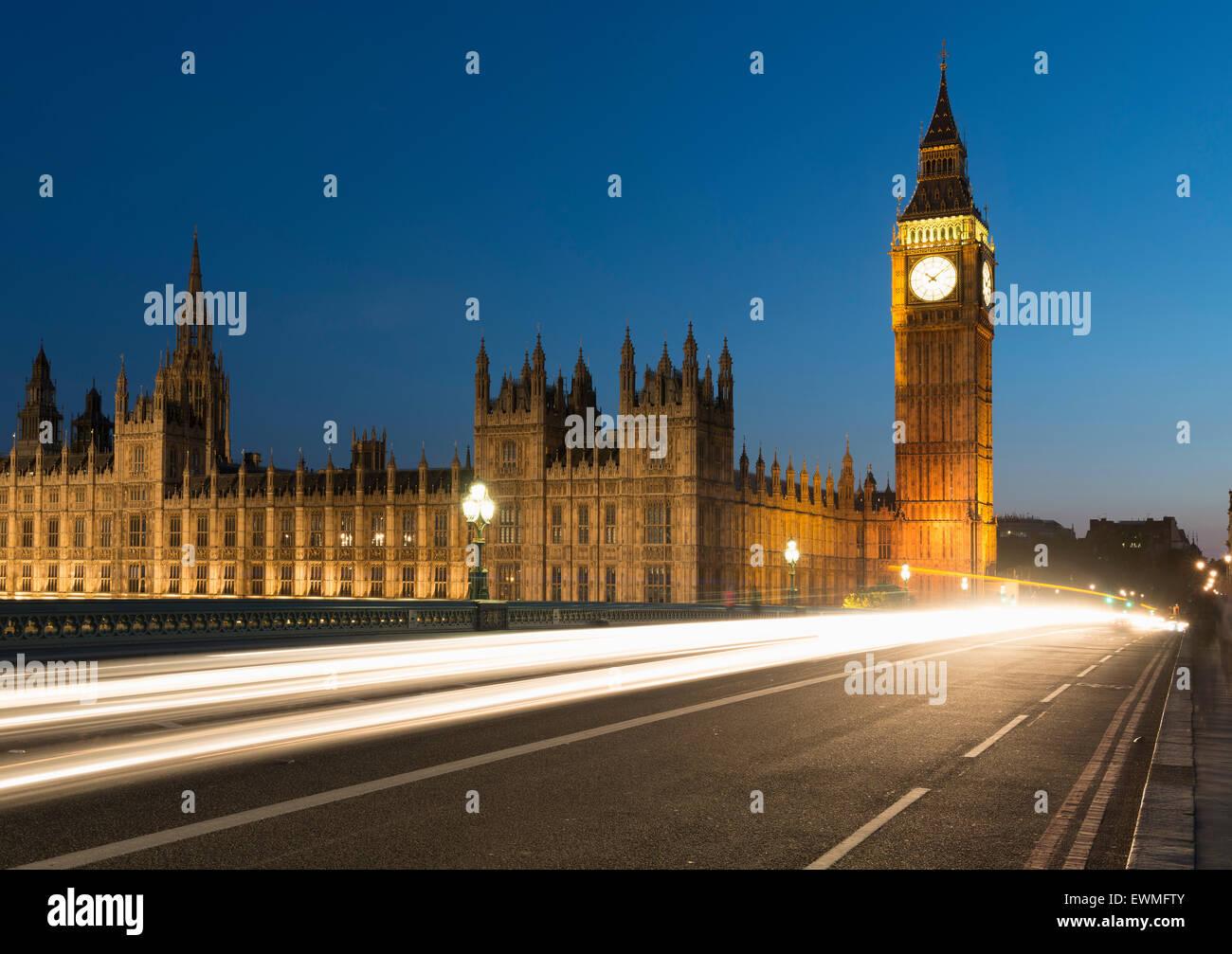 Big Ben and Houses of Parliament, Westminster Bridge, London, England, United Kingdom - Stock Image