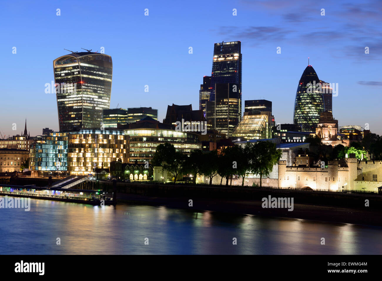 City centre with skyscrapers, 20 Fenchurch Street, Leadenhall Building and 30 St Mary Axe or The Gherkin, Thames, - Stock Image