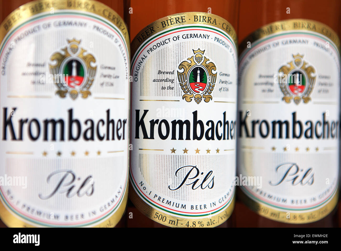 Bottles of Krombacher Pils - Stock Image
