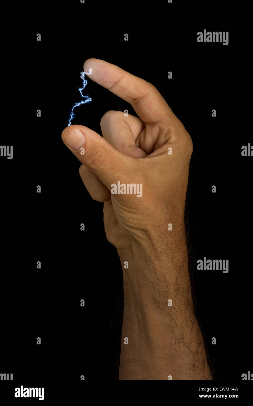 Electricity at your fingertips electrical current voltage possible flexible films of thermoelectric material - Stock Image