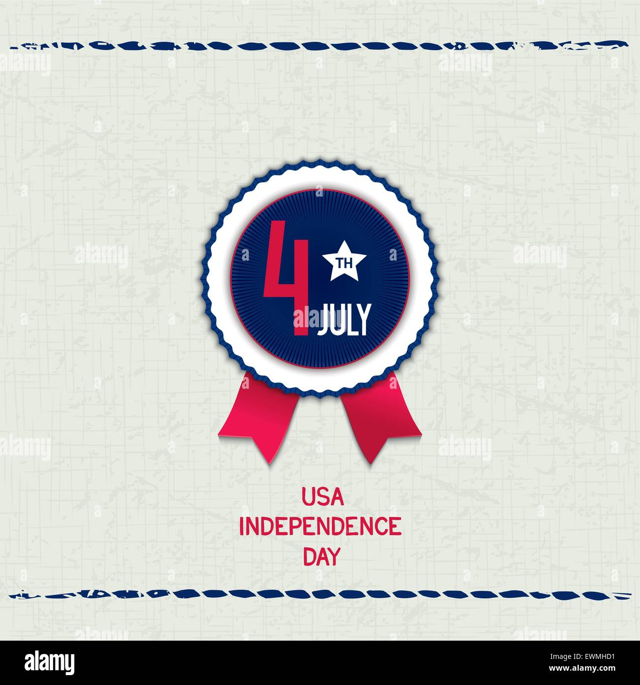 Vintage card with fabric texture and emblem for U.S. Independence Day. Vector eps 10 - Stock Vector