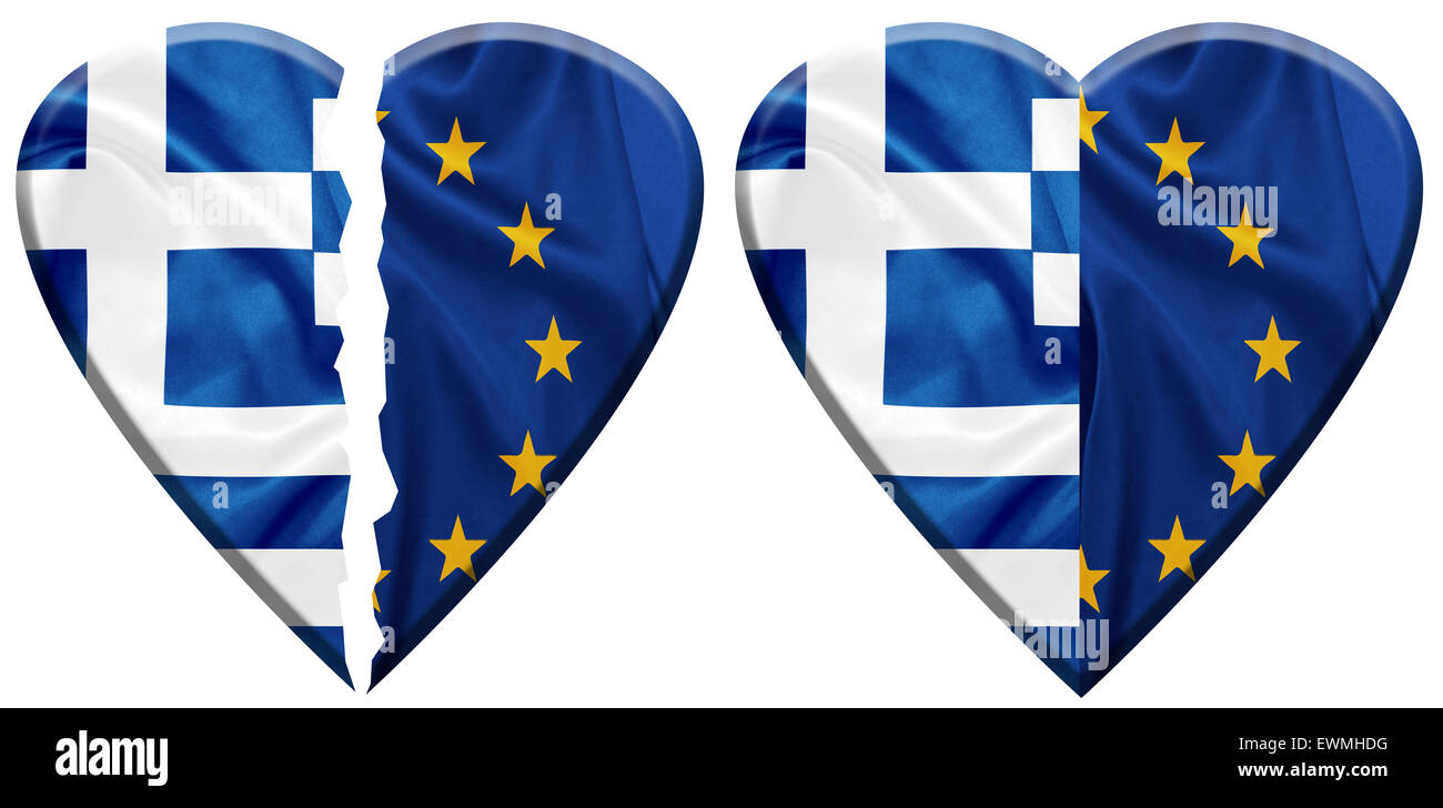 Greece and E.U flags on silk texture - Stock Image