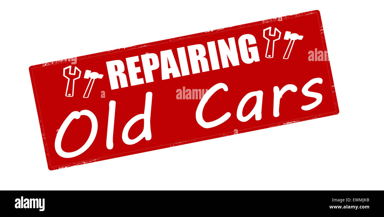 Stamp with text repairing old cars inside, illustration - Stock Image