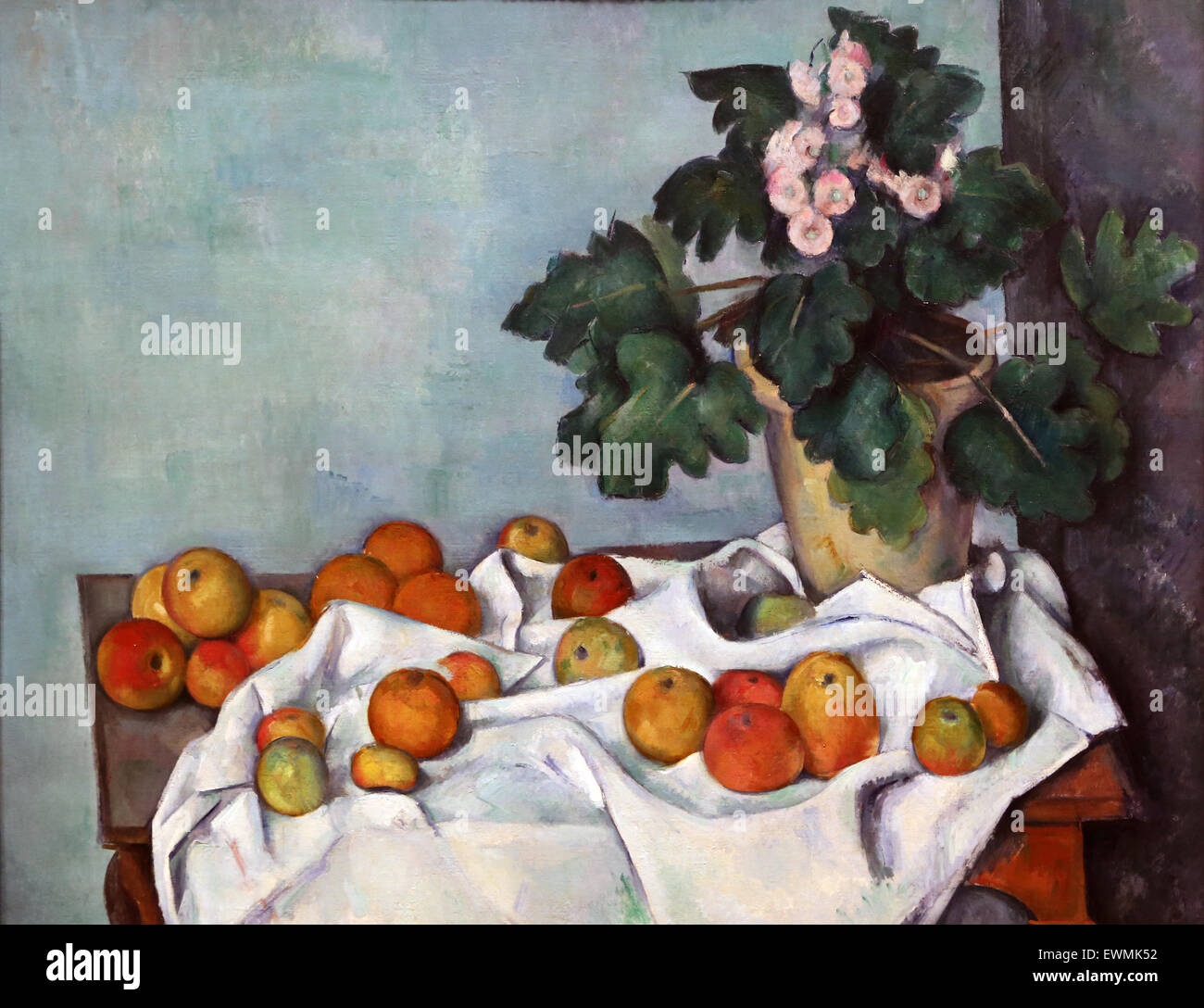 Paul Cezanne (1839-1906).  French painter. Still Life with Apples and a Pot of Primroses, 1890. Oil on canvas. Metropolitan - Stock Image