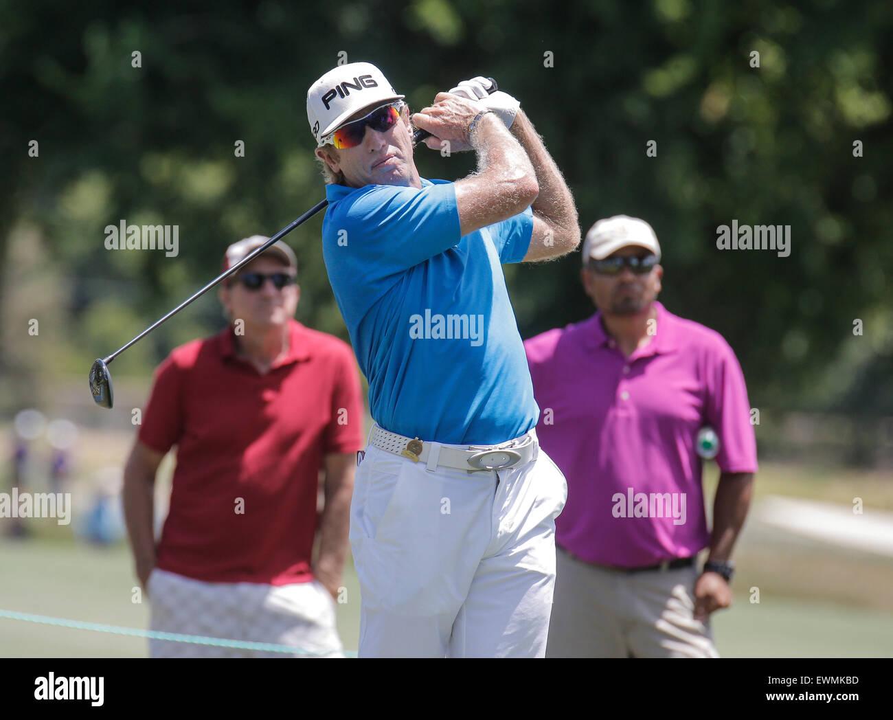 Sacramento, CA. 28th June, 2015. Grant Waite hitting off the fairway 15th hole during U.S Senior Open Championship - Stock Image