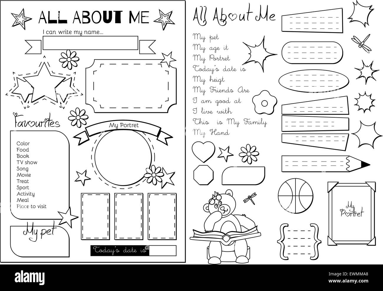image about Printable All About Me identified as All with regards to me. Faculty Printable Inventory Vector Artwork