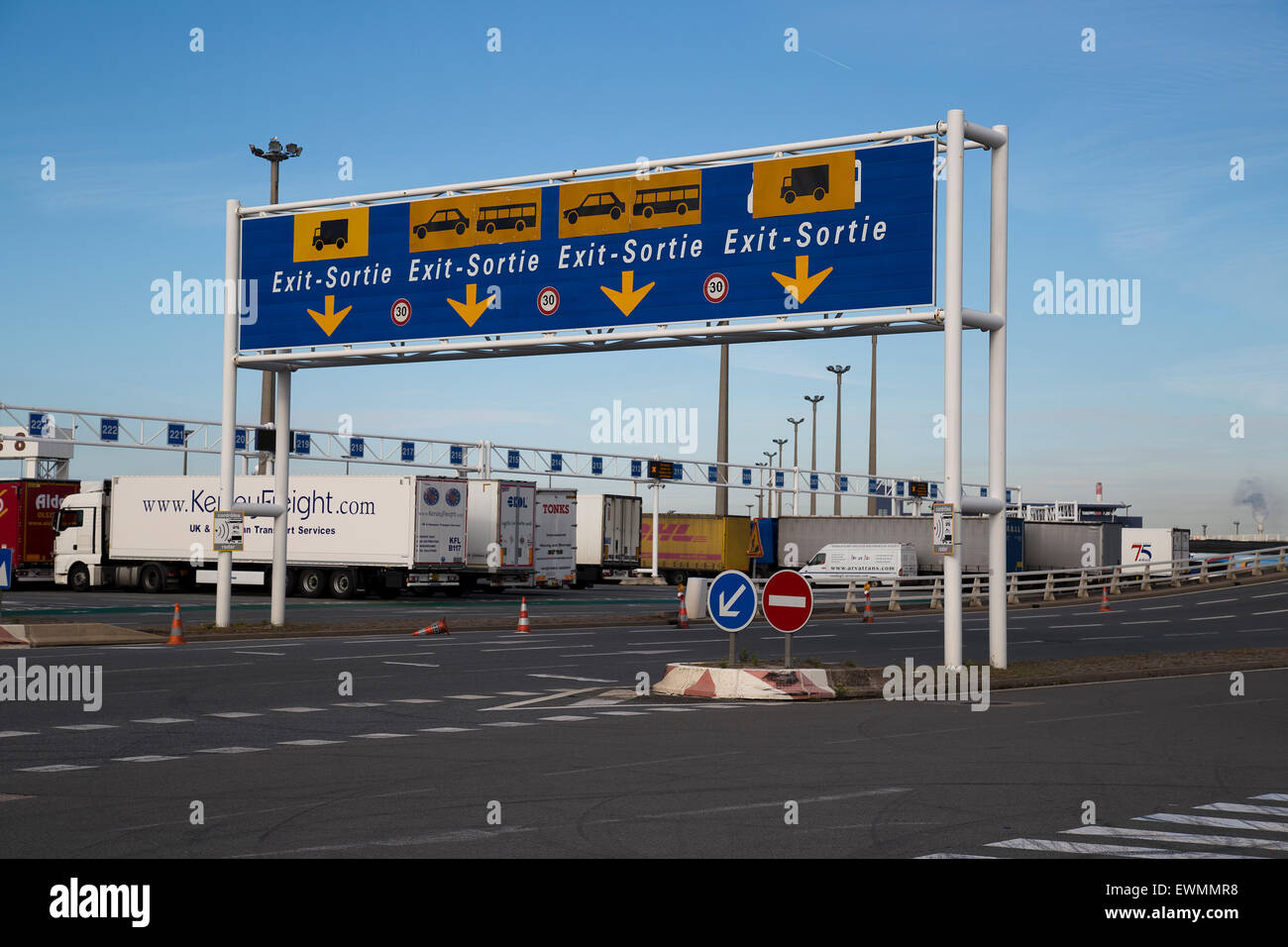 Lorries waiting to embark at the Port of Calais in France - Stock Image