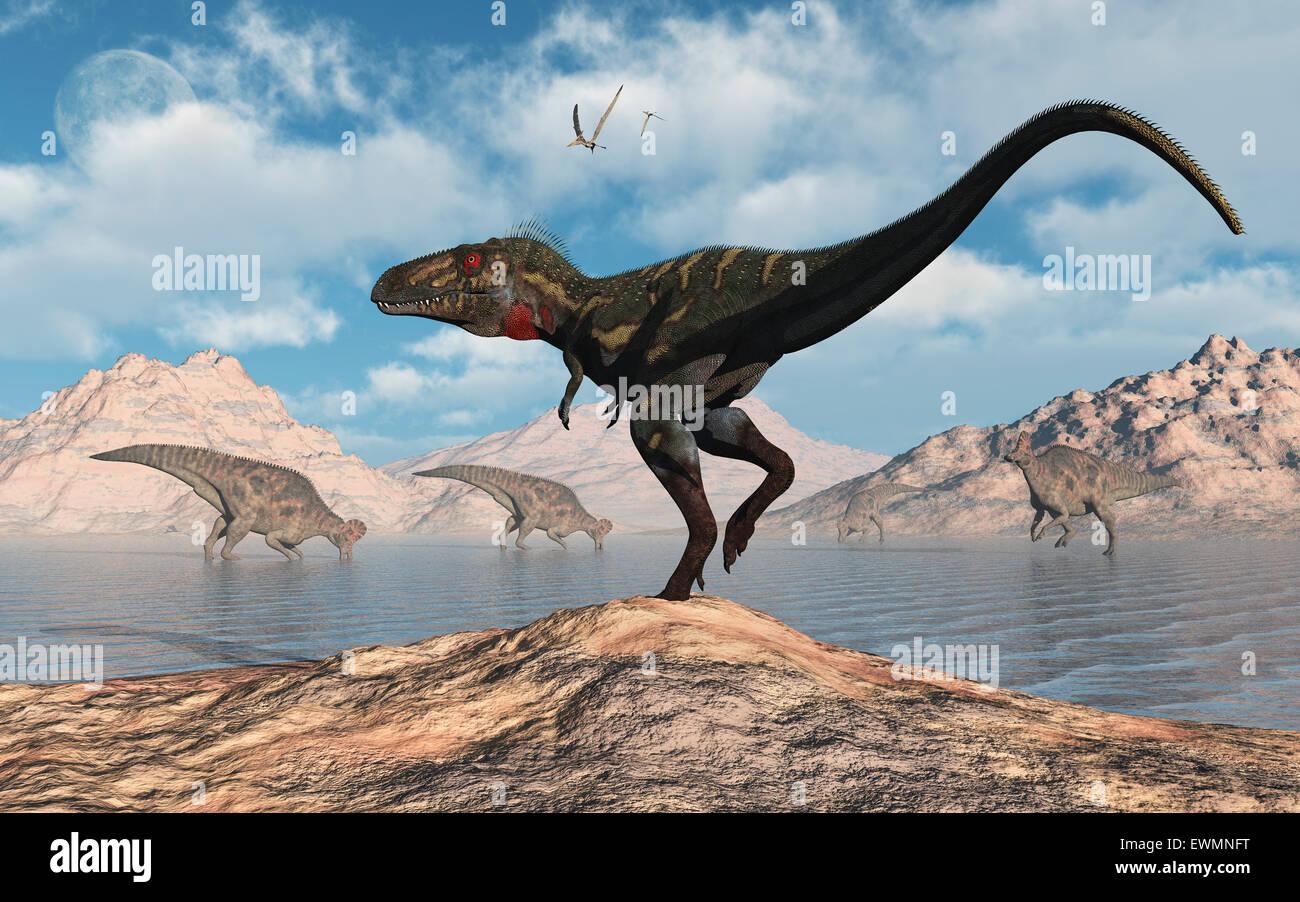 A Nano Tyrannosaurus Stalking A Herd Of Corythosaurus Stock Photo