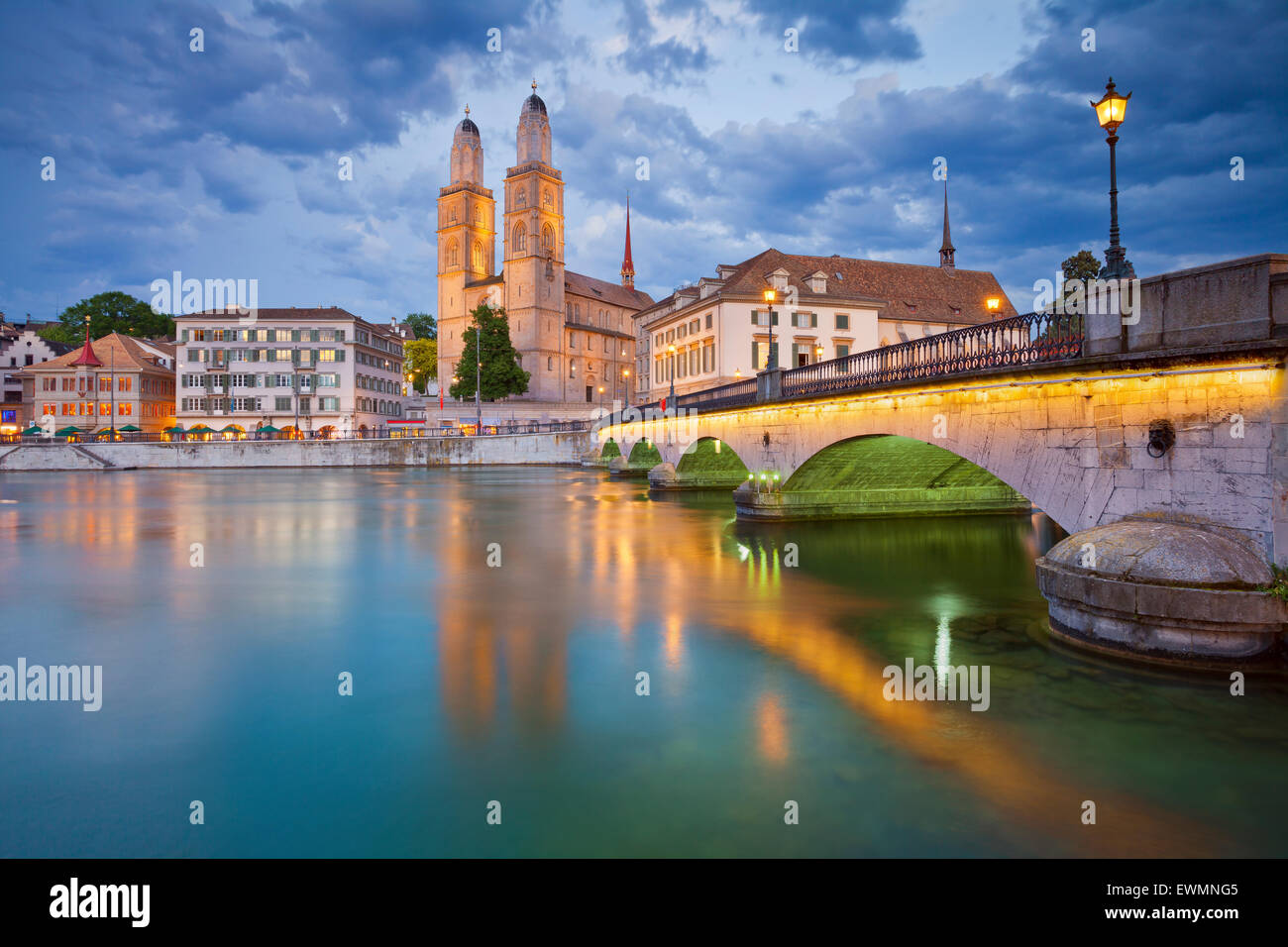 Zurich. Image of Zurich with Grossmünster during twilight. - Stock Image