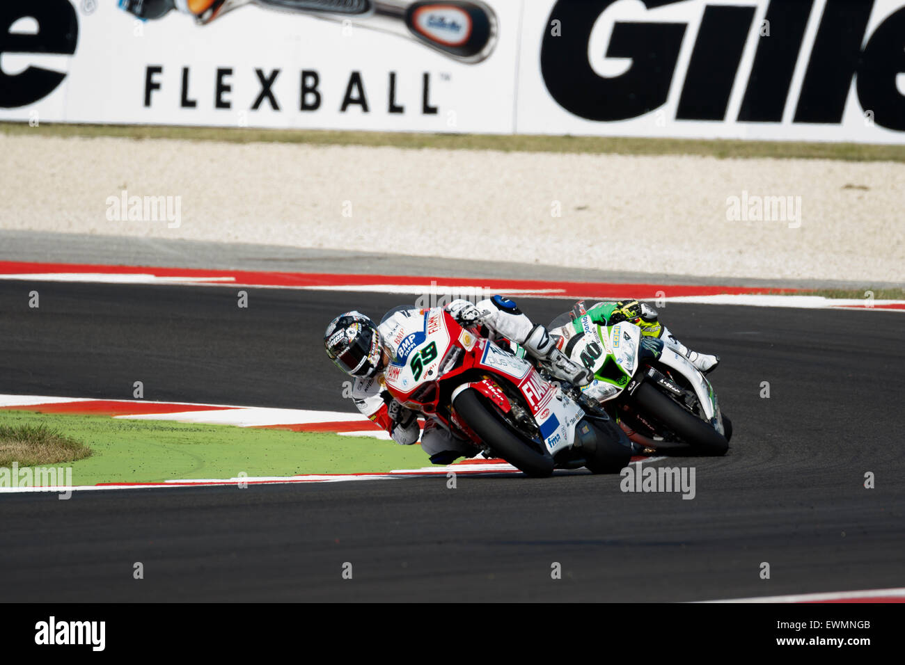 Misano Adriatico, Italy - June 21, 2015: Ducati Panigale R of Althea Racing Team, driven by CANEPA Niccolò Stock Photo