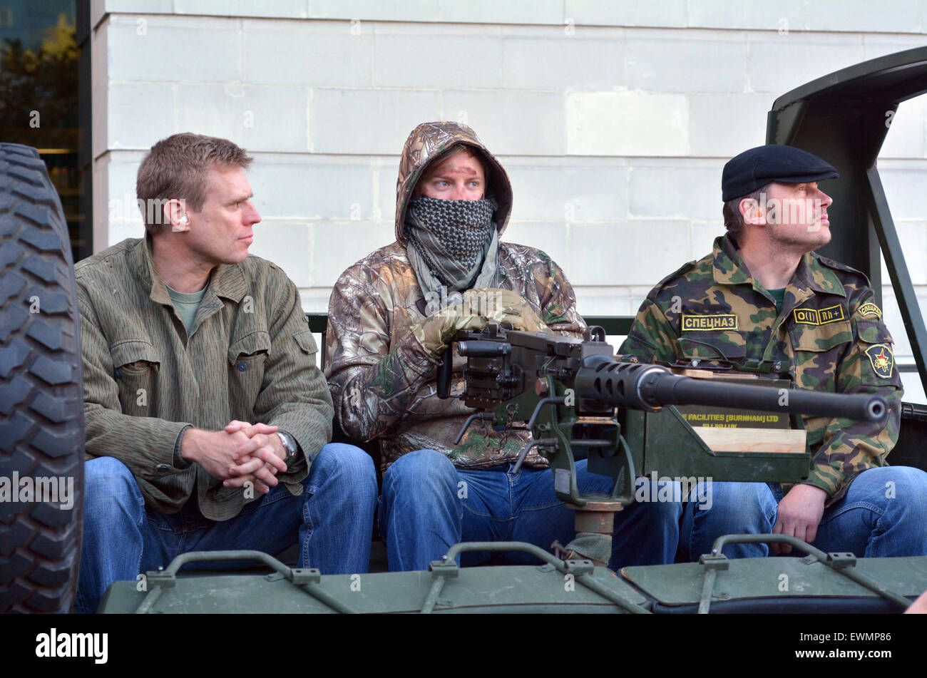 LONDON - MAY 14 2015:British soldiers dress as Militia during military show in London, UK.It's a fighting force - Stock Image