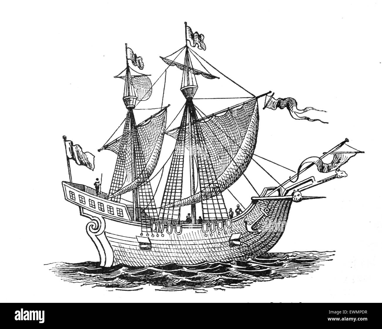 Victoria. Spanish carrack. 1st ship to successfully circumnavigate the World. 1518-19. Explorers: F.Magellan and - Stock Image