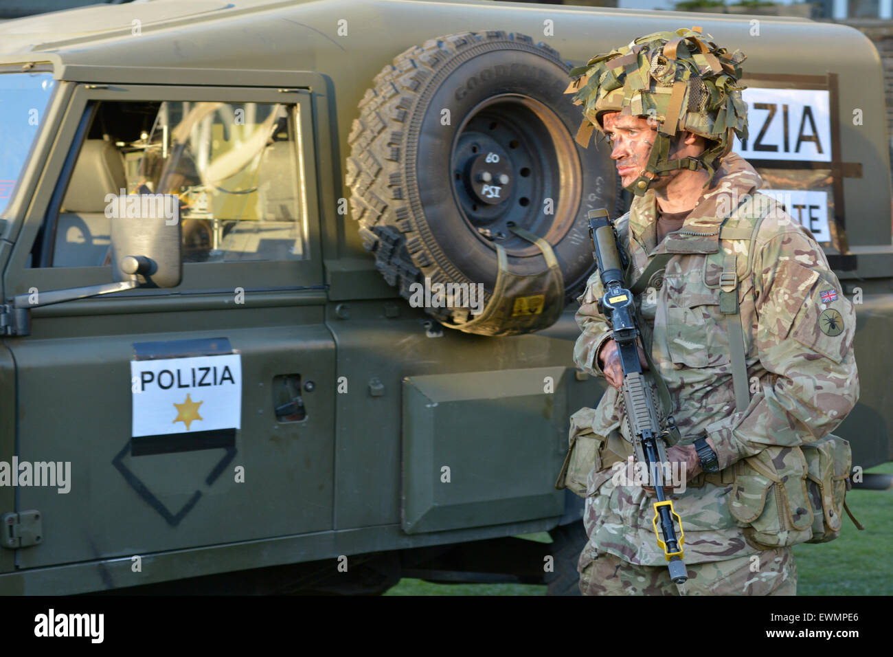 LONDON - MAY 14 2015:British Army soldier.According to Ministry of Defence, it costs £30,000 to train a soldier. - Stock Image