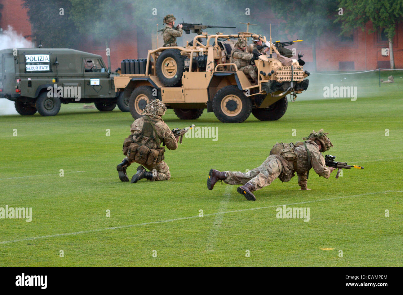 LONDON - MAY 14 2015:British Army force during military demonstration show.On 1 Jan 2015, the British Army employed: - Stock Image