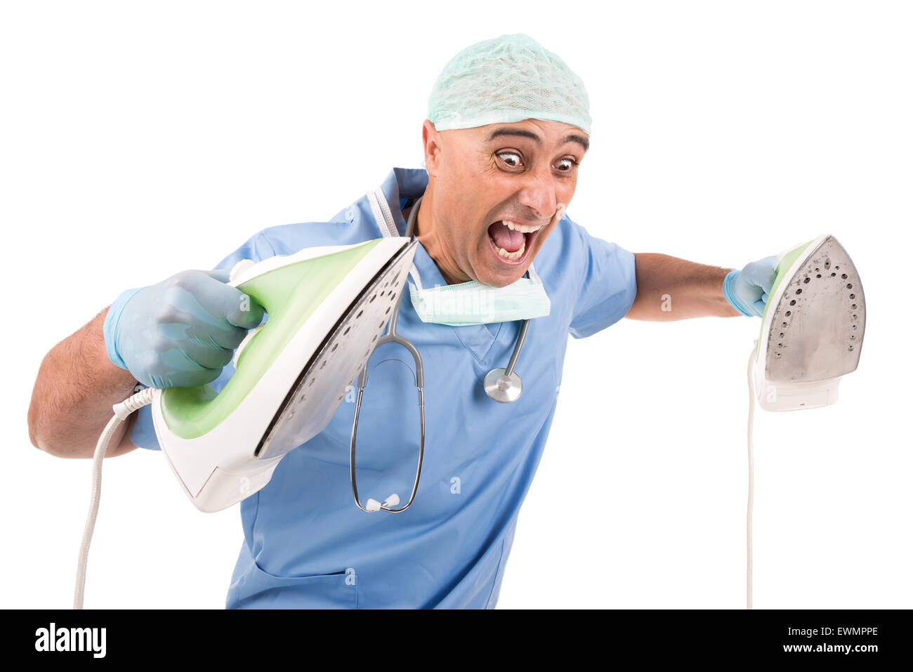 doctor with irons ready for defribillation - Stock Image
