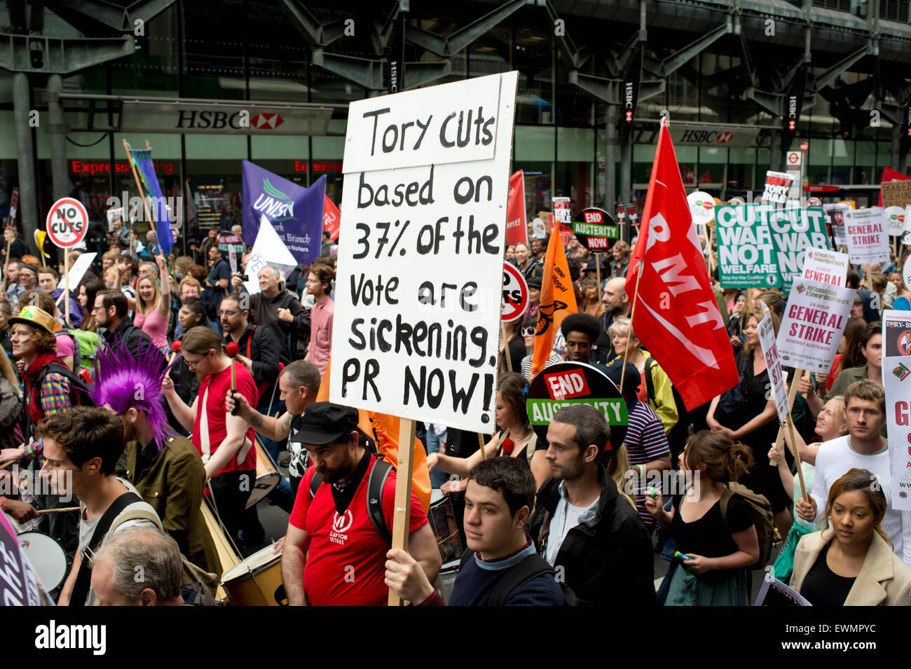 March against austerity, London June 20th 2015. Placard saying 'Tory cuts based on 37%  of the vote are sickening. - Stock Image