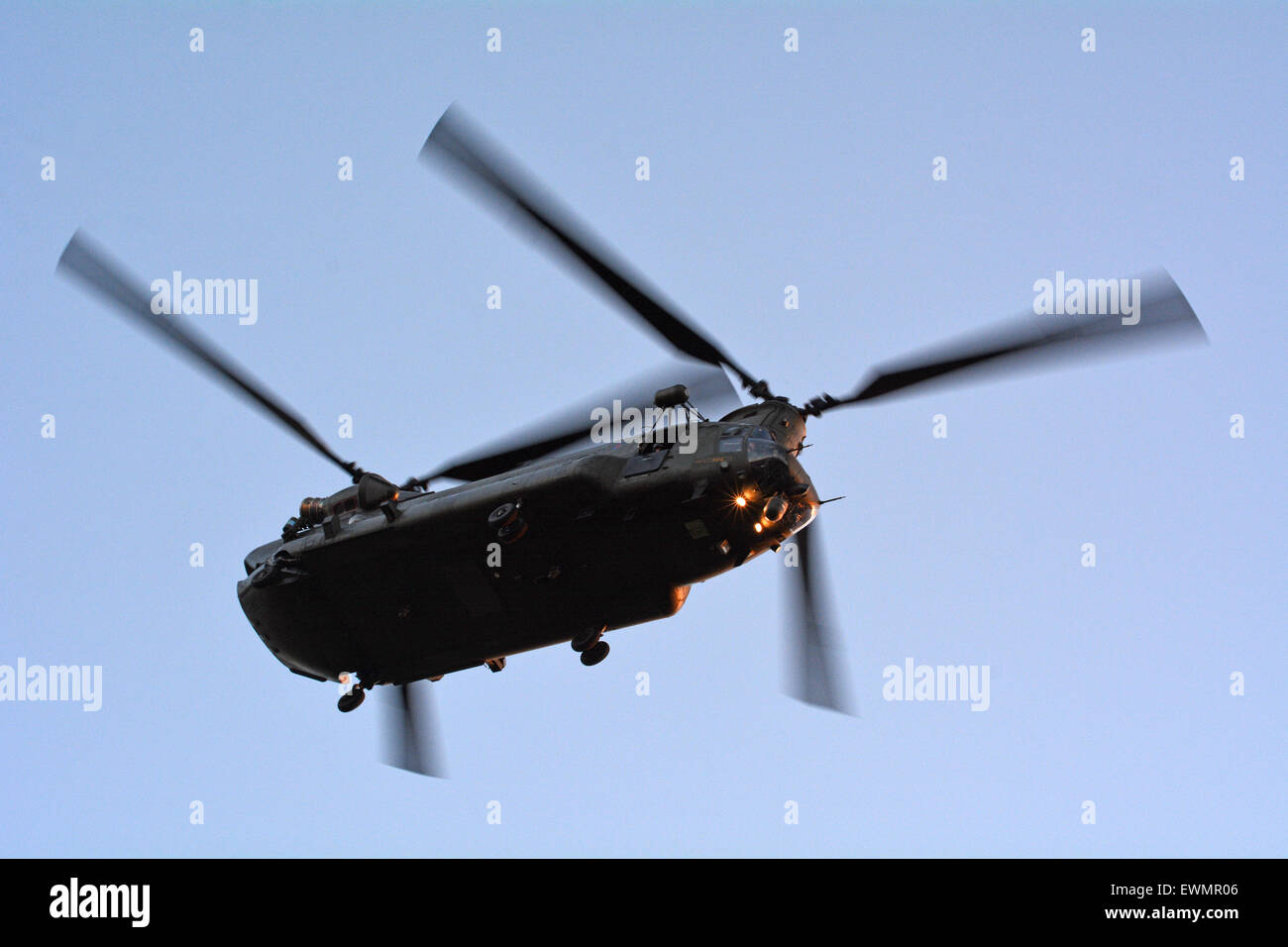LONDON - MAY 14 2015:RAF Chinook HC4 in airshow over London, UK.The American tandem rotor heavy-lift helicopter - Stock Image