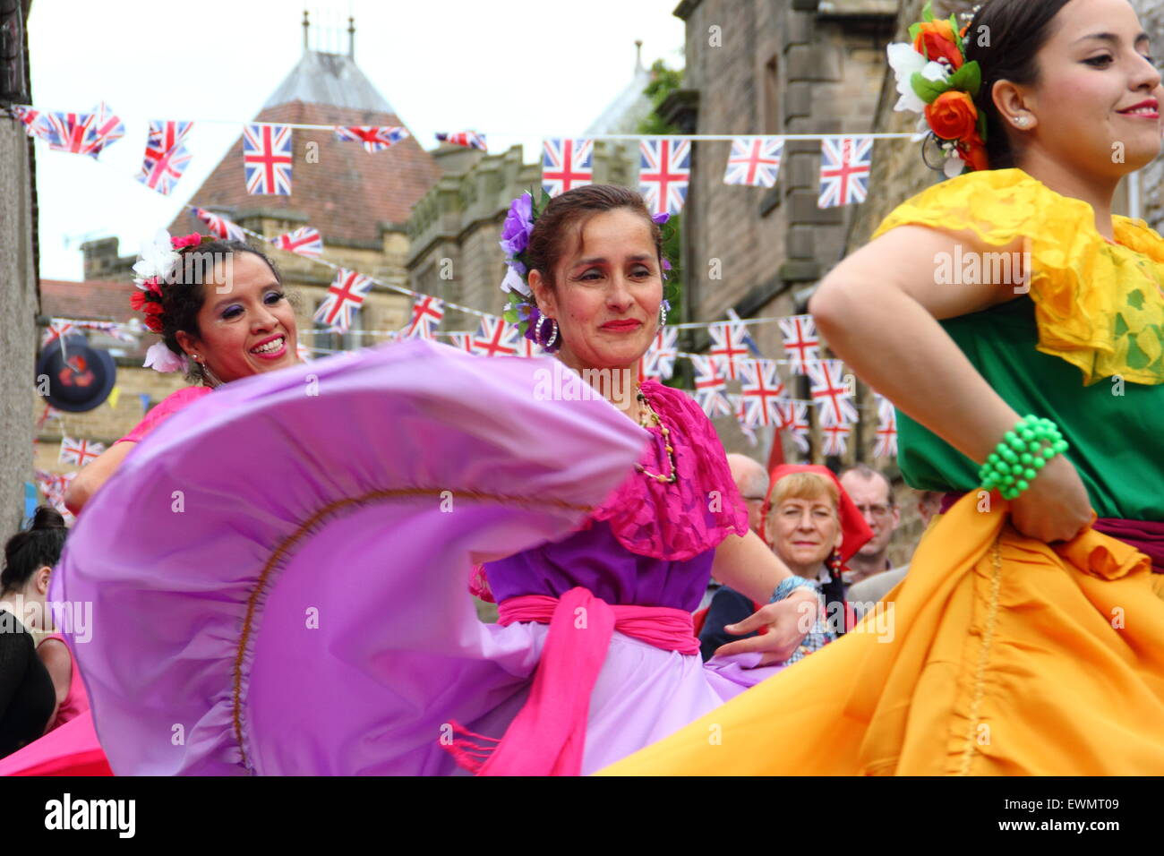 Members of Latin American dance group, Son de America perform at the Bakewell International Day of Dance, Bakewell, - Stock Image