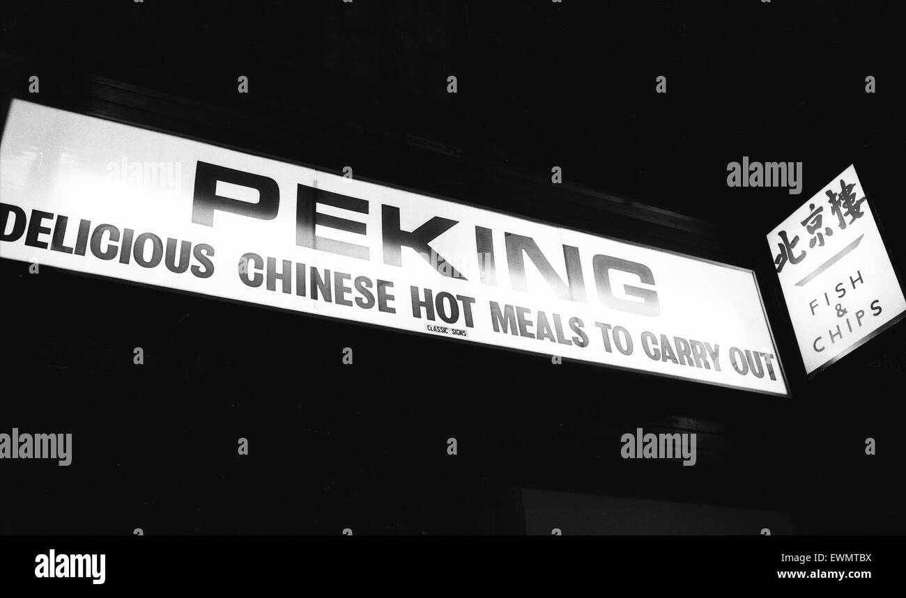 Peking Chinese Restaurant Sign, Glasgow, Scotland, 6th March 1971. Face of Britain 1971 Feature. Delicious Chinese - Stock Image