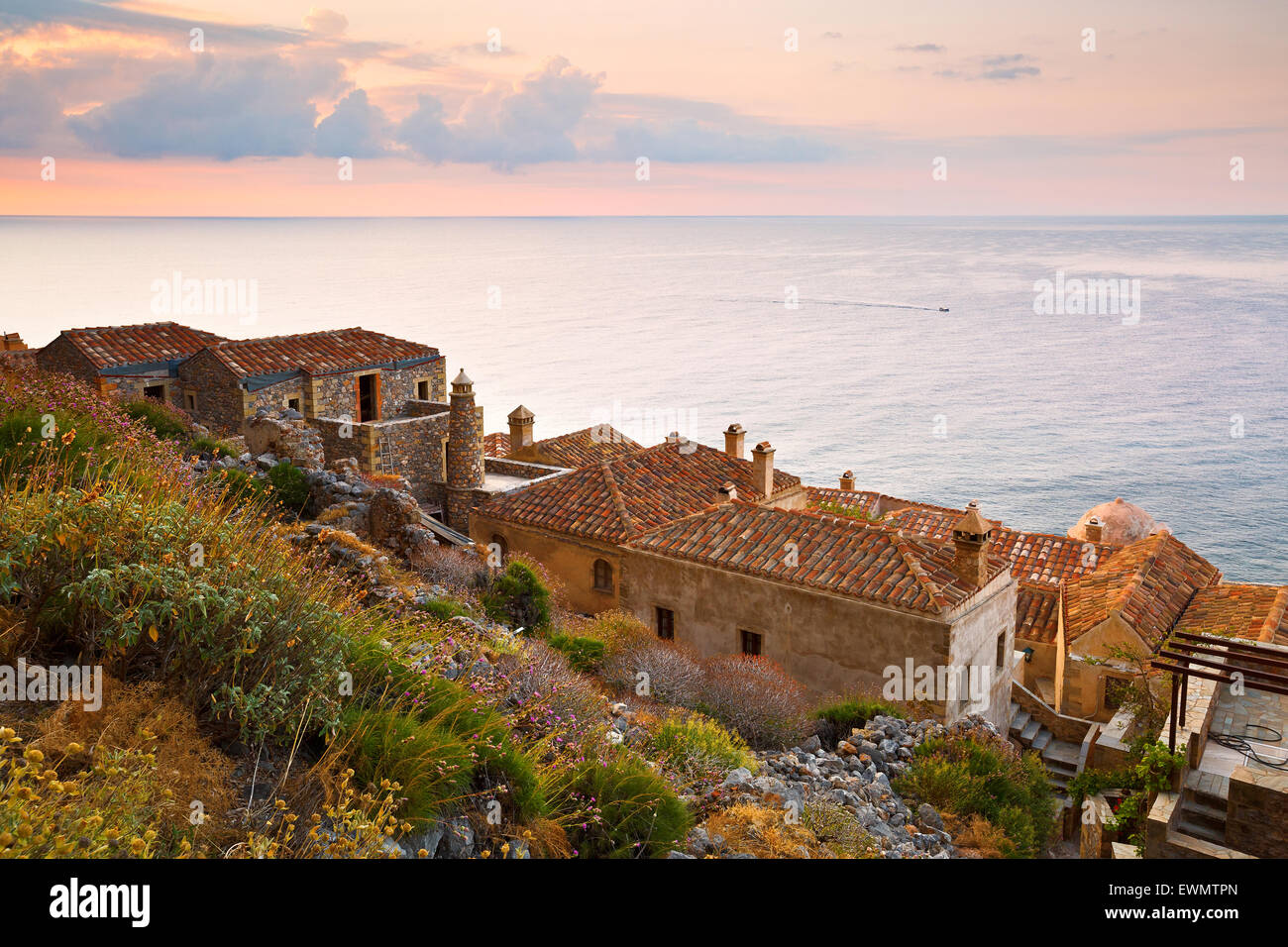 Monemvasia village in Peloponnese, Greece. - Stock Image