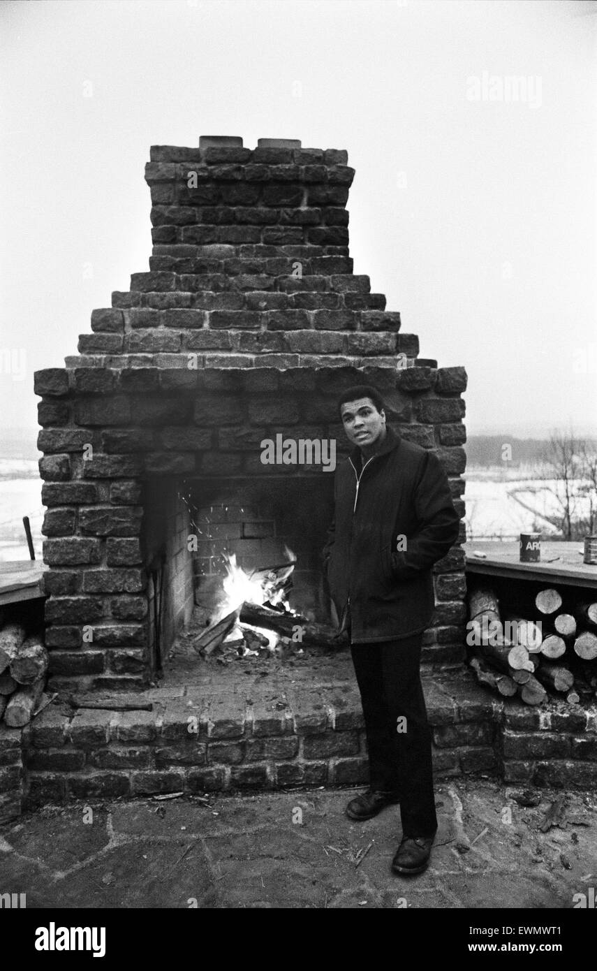 Muhammad Ali at his training camp in Deer Lake Pennsylvania. ahead of his rematch with Joe Frazier 20th January - Stock Image