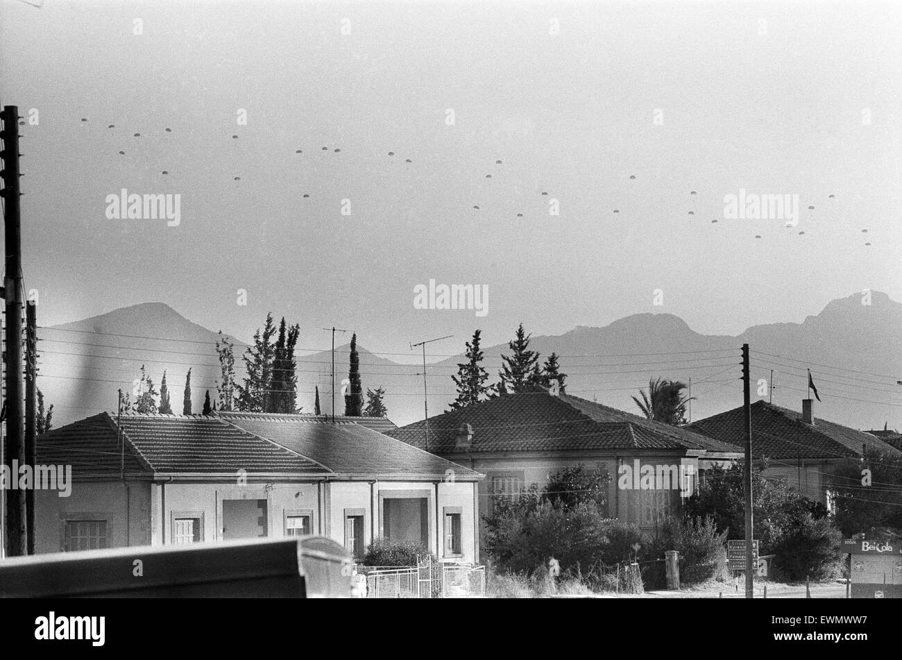 Parachute drops during the Turkish invasion of Cyprus. 22nd July 1974. - Stock Image