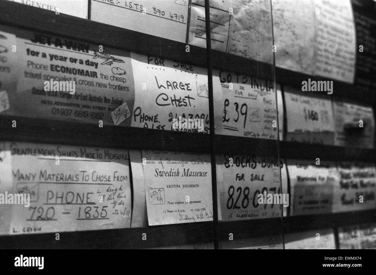 Adverts, Local Newsagents, Earls Court, London, 11th September 1971. - Stock Image