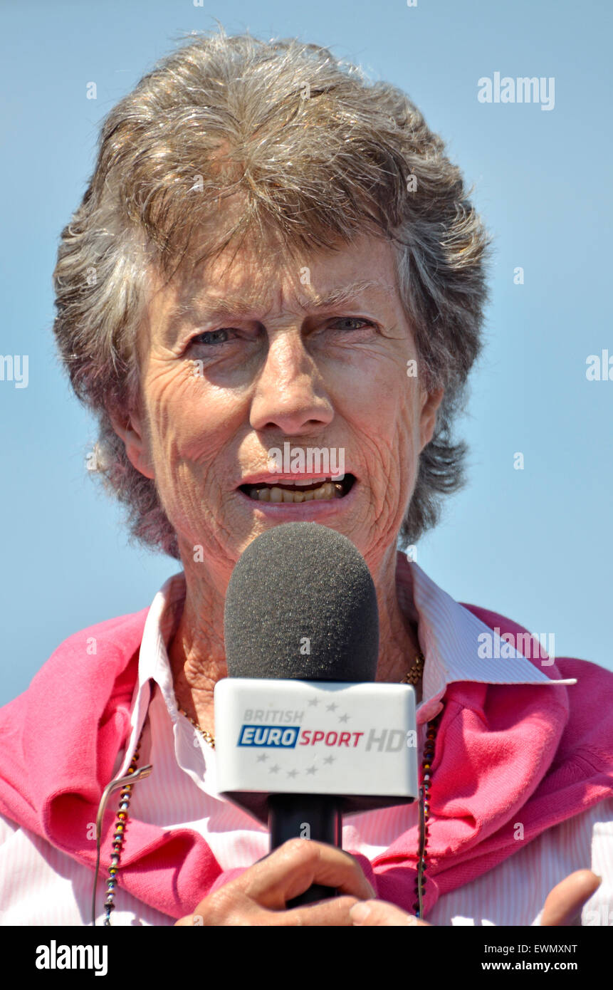 Virginia Wade, former British No 1 ladies tennis player, doing a TV interview - Stock Image