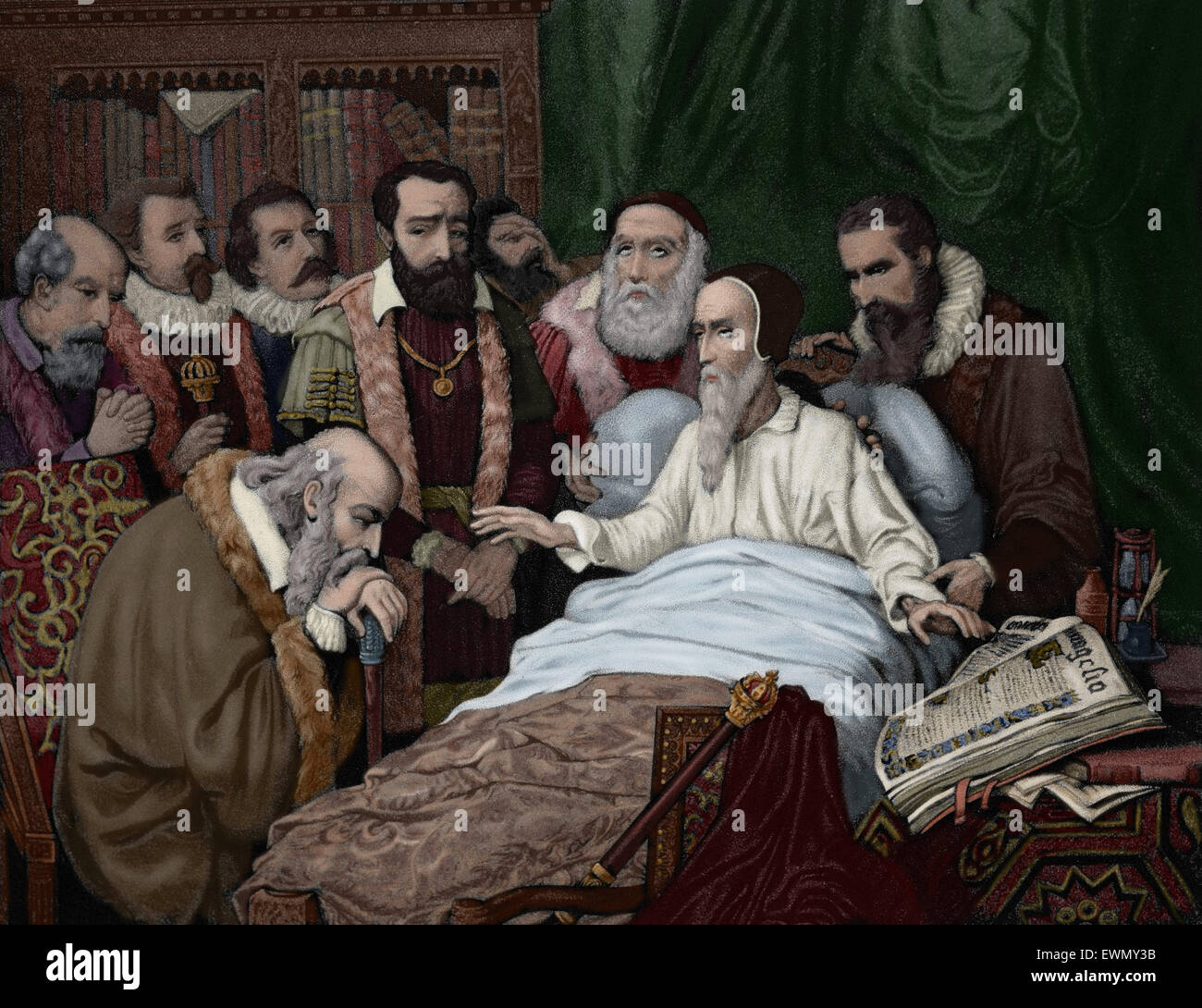 John Calvin (1509-1564). French theologian and reformer. Last moments of Calvin. Engraving, 1882. Colored. - Stock Image