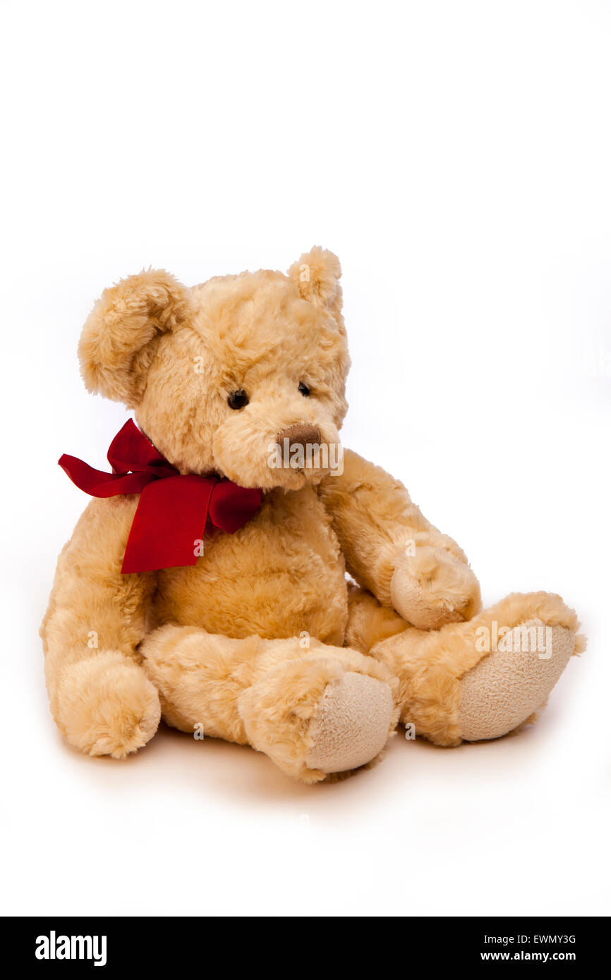 toys, child's teddy bear with red ribbon round neck - Stock Image