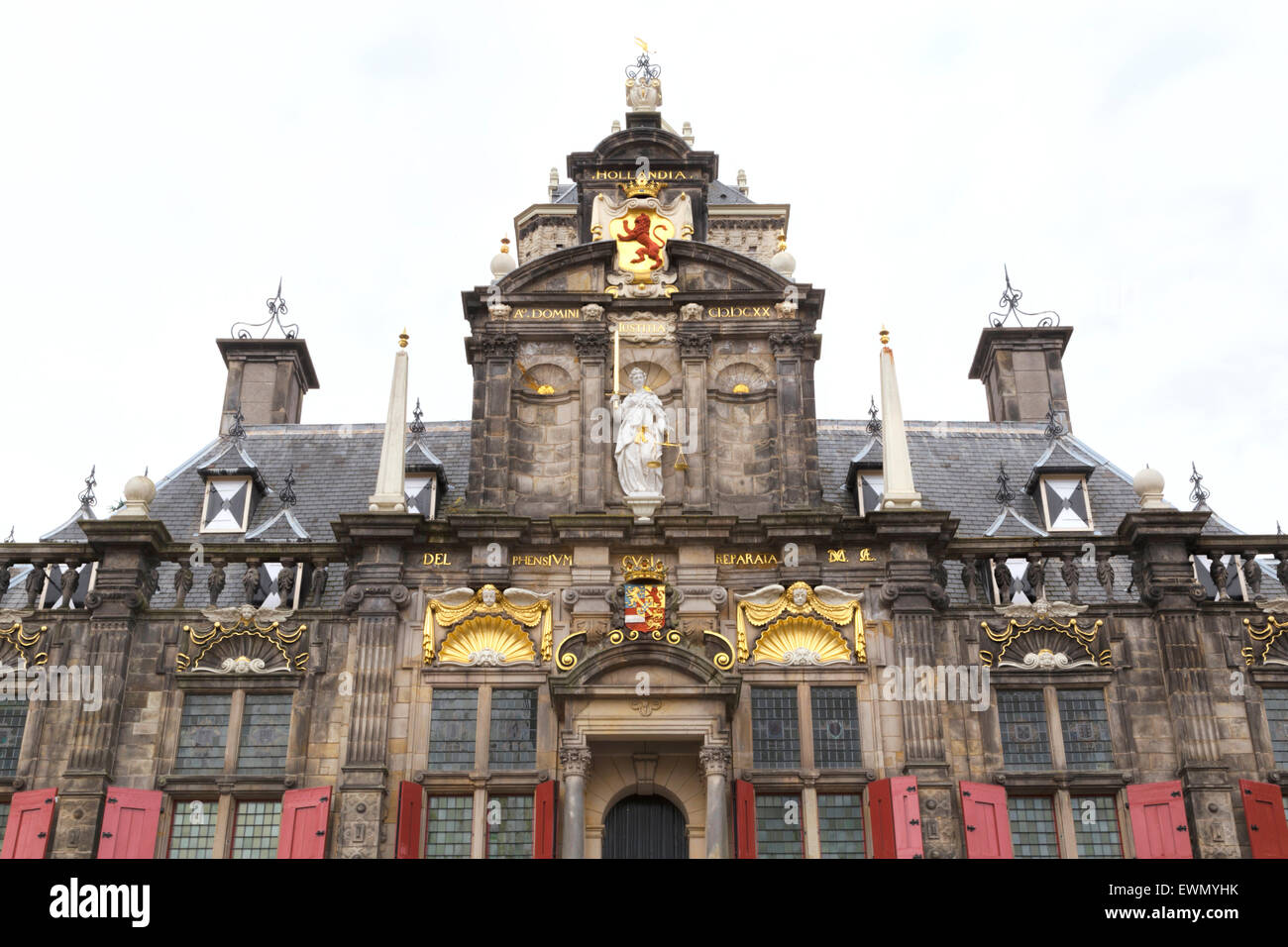 Facade of The City Hall in Delft with Justitia statue, a Renaissance style building on the Markt , South Holland, - Stock Image