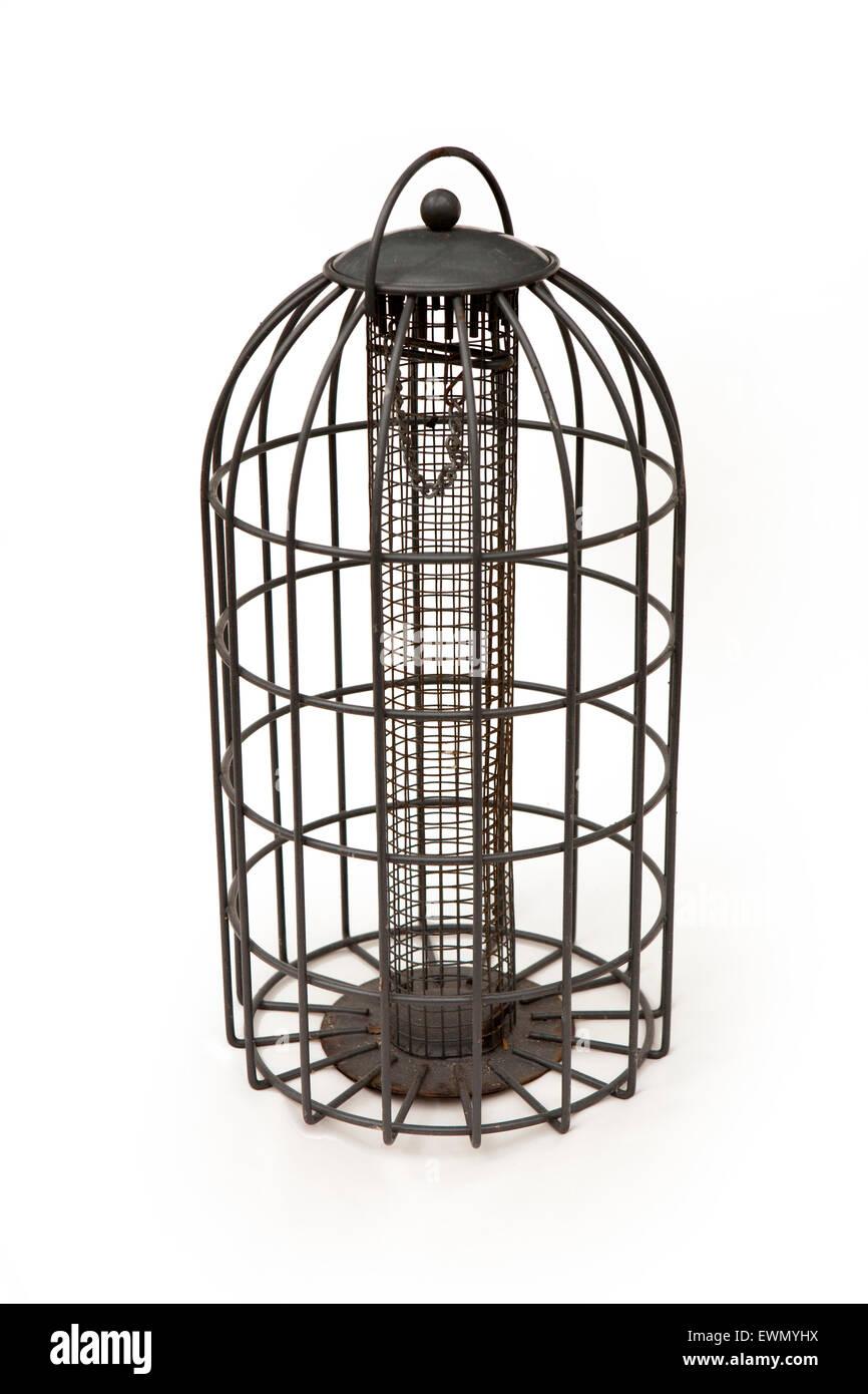 gardens, squirrel proof wire cage hanging garden bird feeder Stock ...