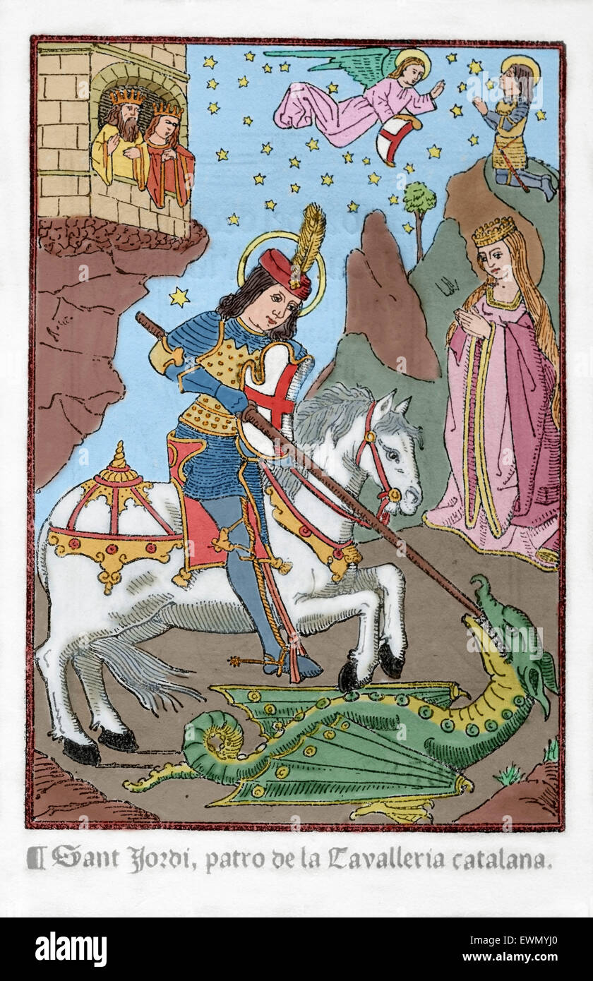 Saint George (c,275/281-303). Christian martyr. Engraving depicting St George as a young armored man fighting the - Stock Image