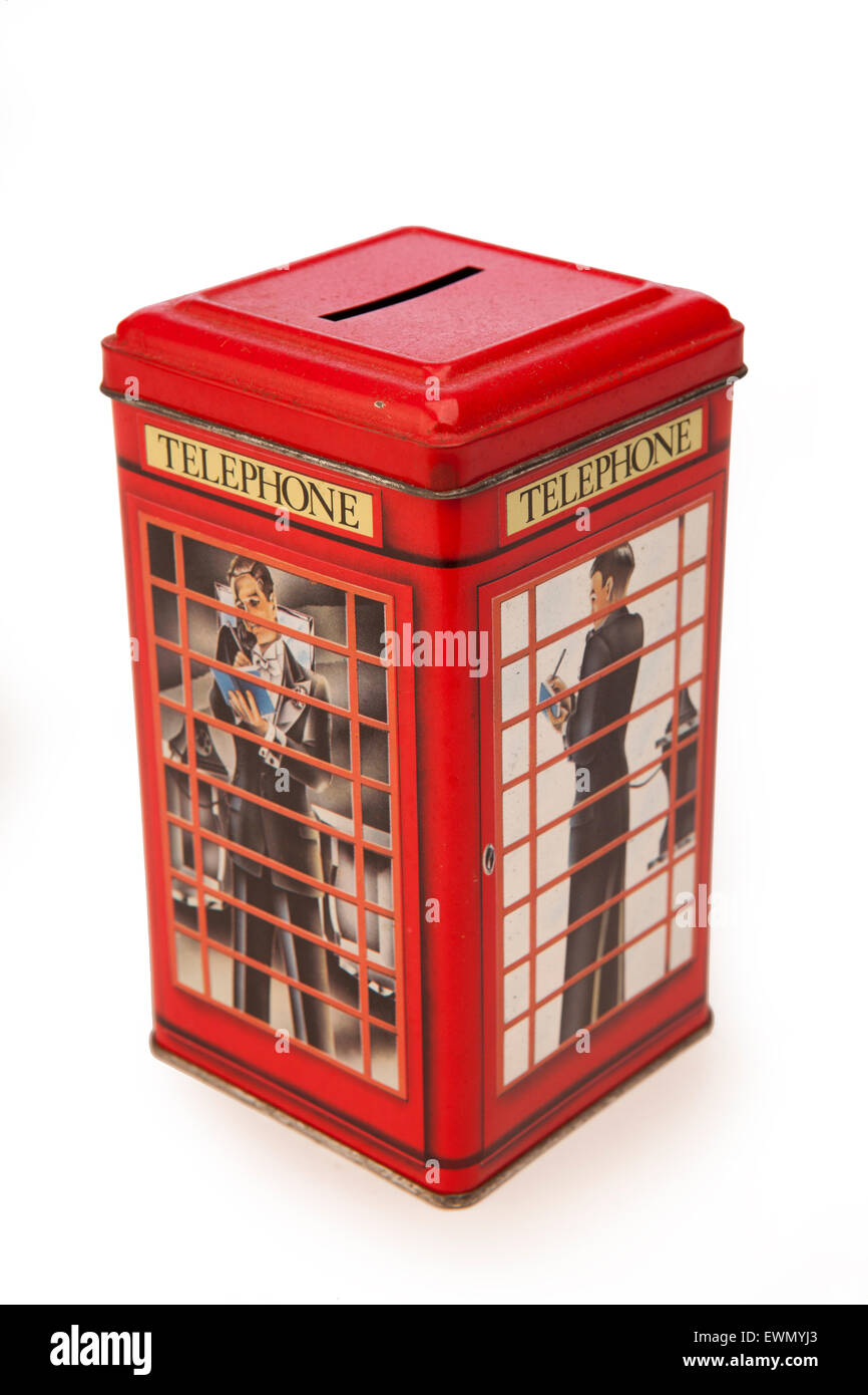 avings, money boxes, red british k6 phone box, telephone kiosk - Stock Image