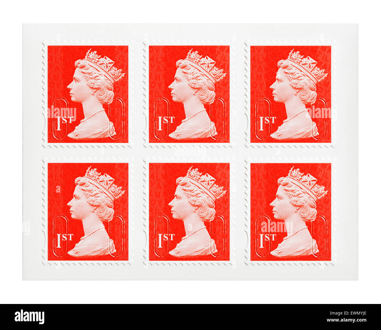 First Class Postage Stamps, UK. - Stock Image