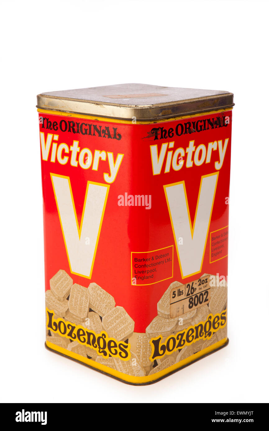 tins, the Original Victory V Lozenge sweet shop tin by Barker and Dobson, liverpool - Stock Image