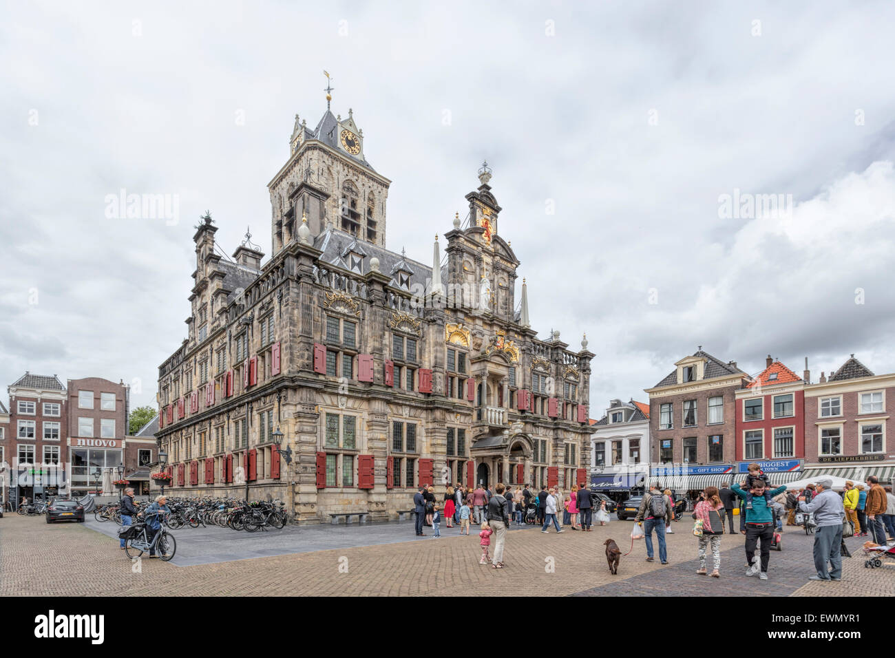The City Hall in Delft, a Renaissance style building on the Markt  opposite the New Church, South Holland, The Netherlands. - Stock Image