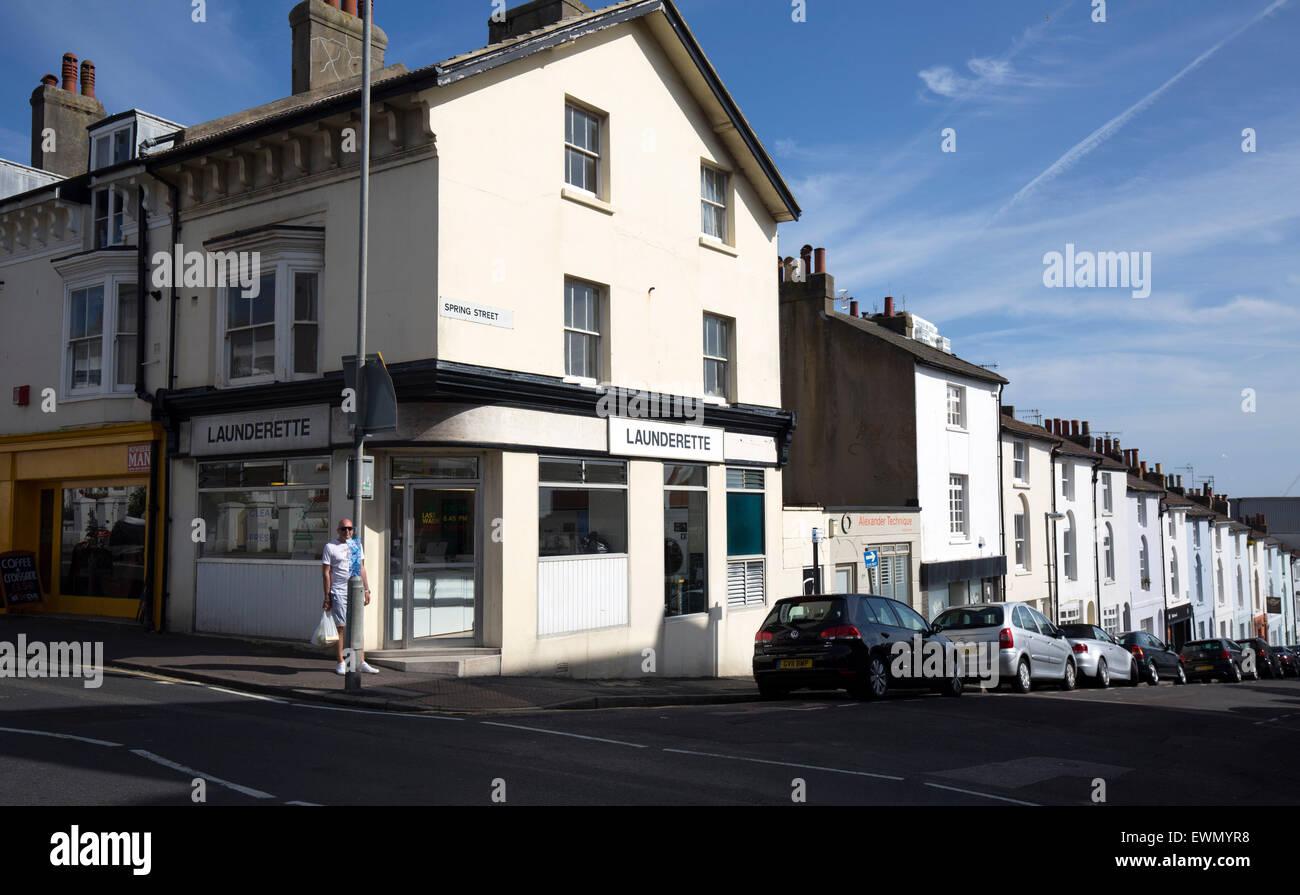 Laundrette on corner plain unbranded - Stock Image