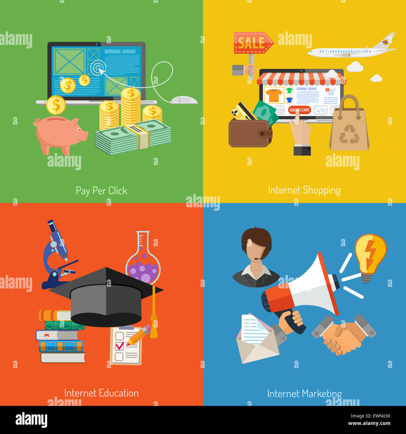 Concepts for Online Internet Technology - Education, Shopping, Marketing and Pay per Click Flat Icons. Can be used - Stock Image