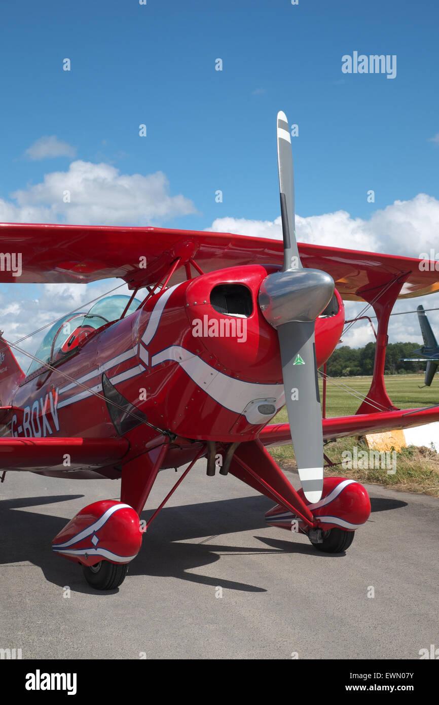 Pitts S-1S Special aerobatic biplane registration G-BOXV - Stock Image