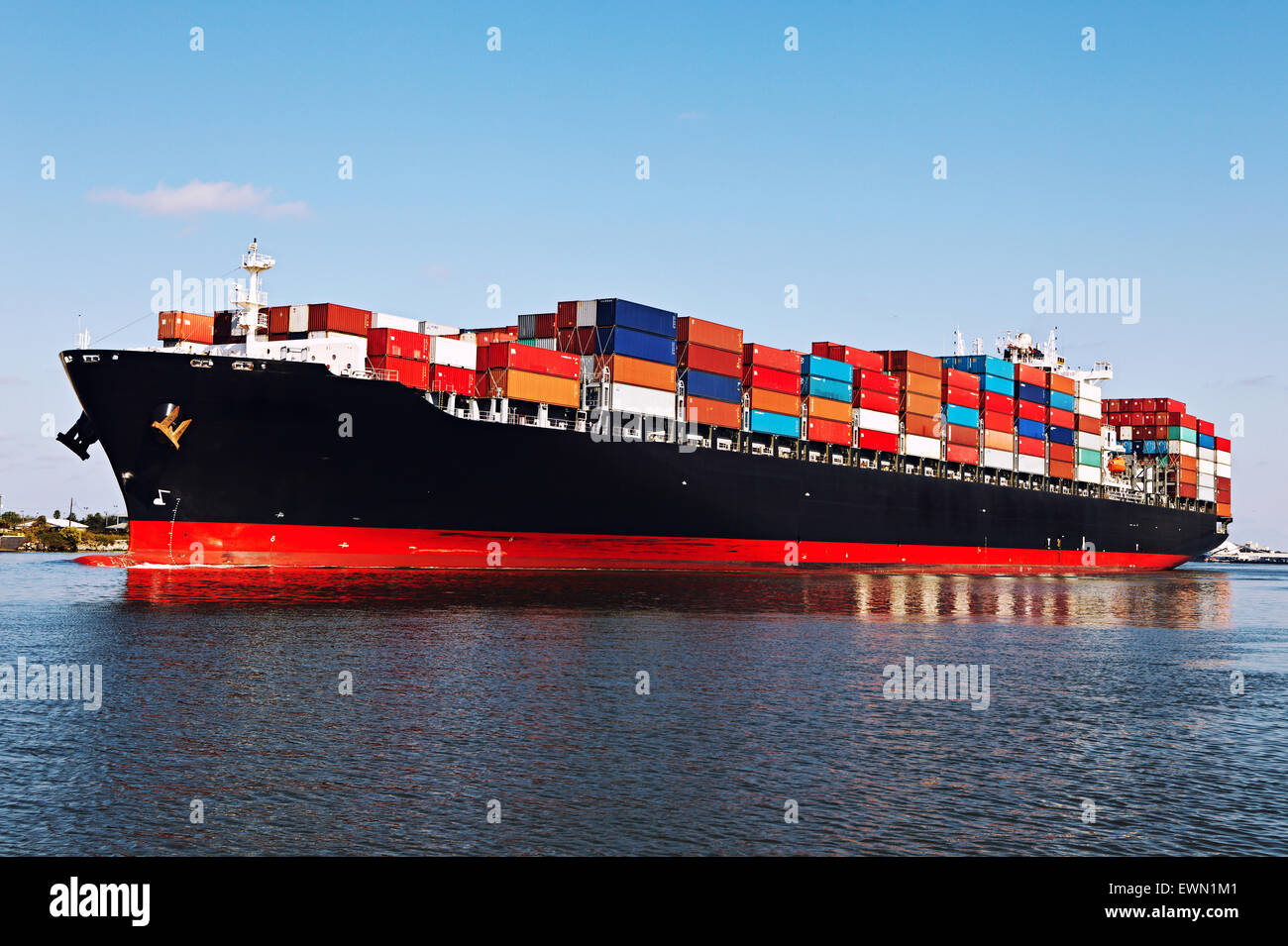 Cargo ship at the port - Stock Image