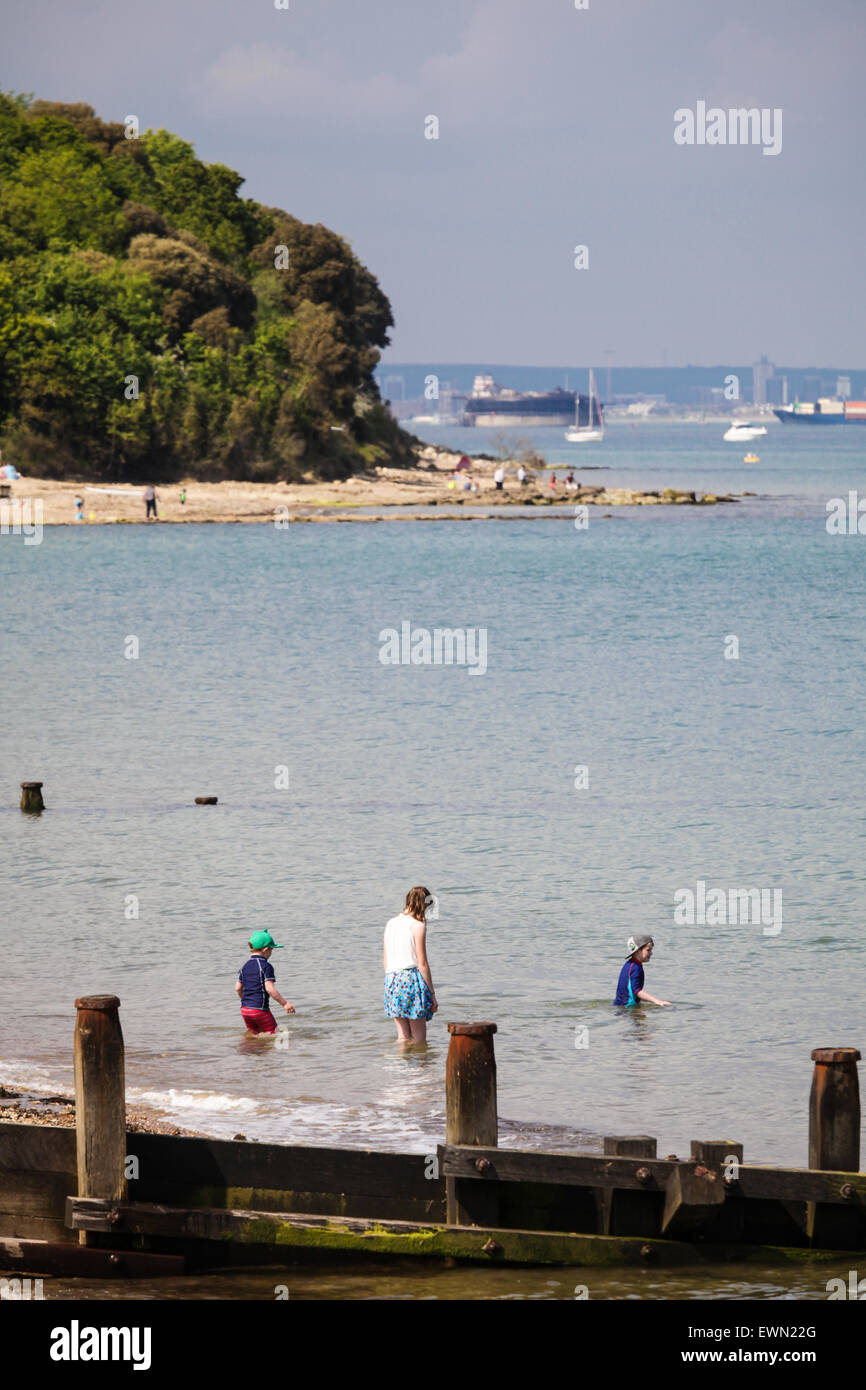 People enjoying the summer at the beach at St Helens Duver on the Isle of Wight - Stock Image