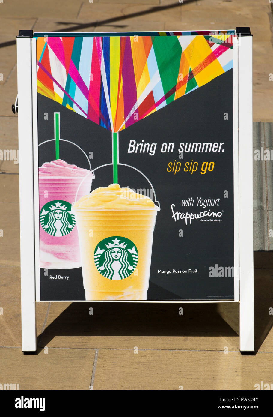 Starbucks Bring on Summer Frappuccino Sign - Stock Image