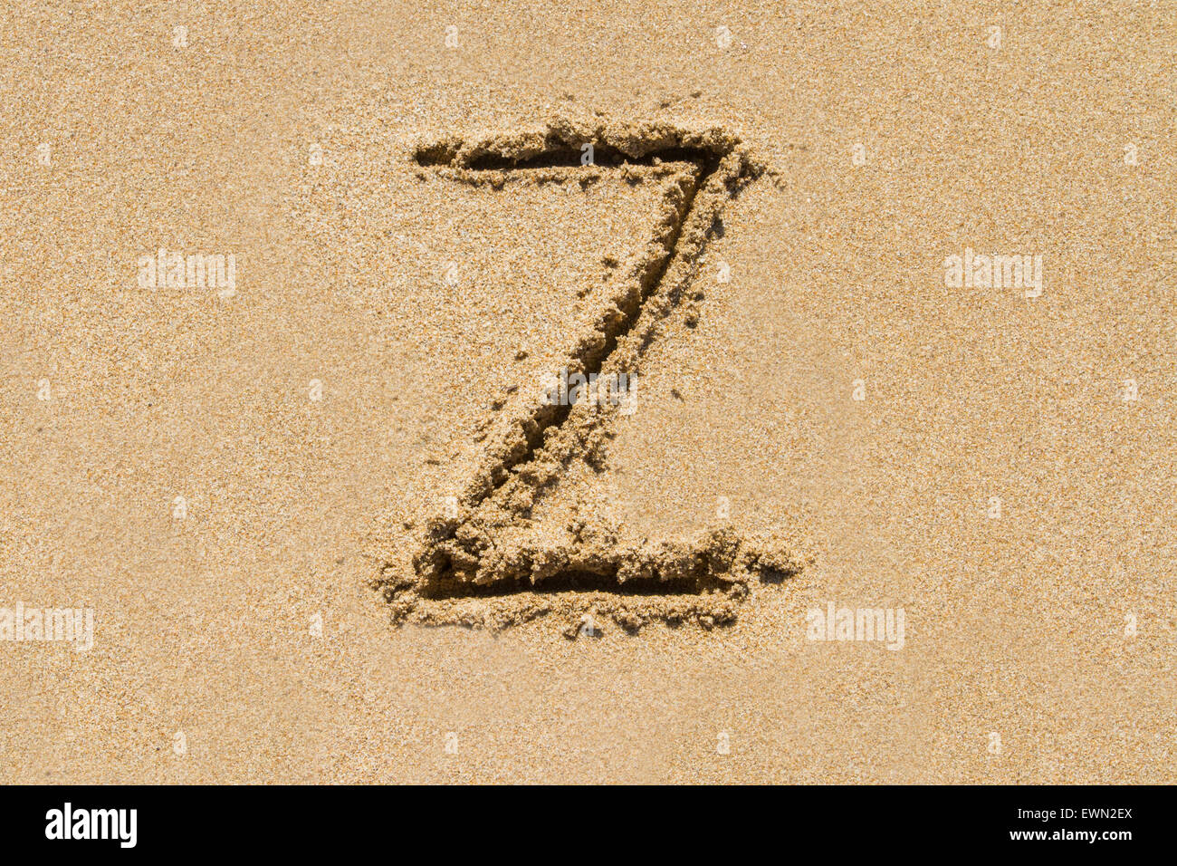 Letter Z of the alphabet written on sand with upper case. - Stock Image